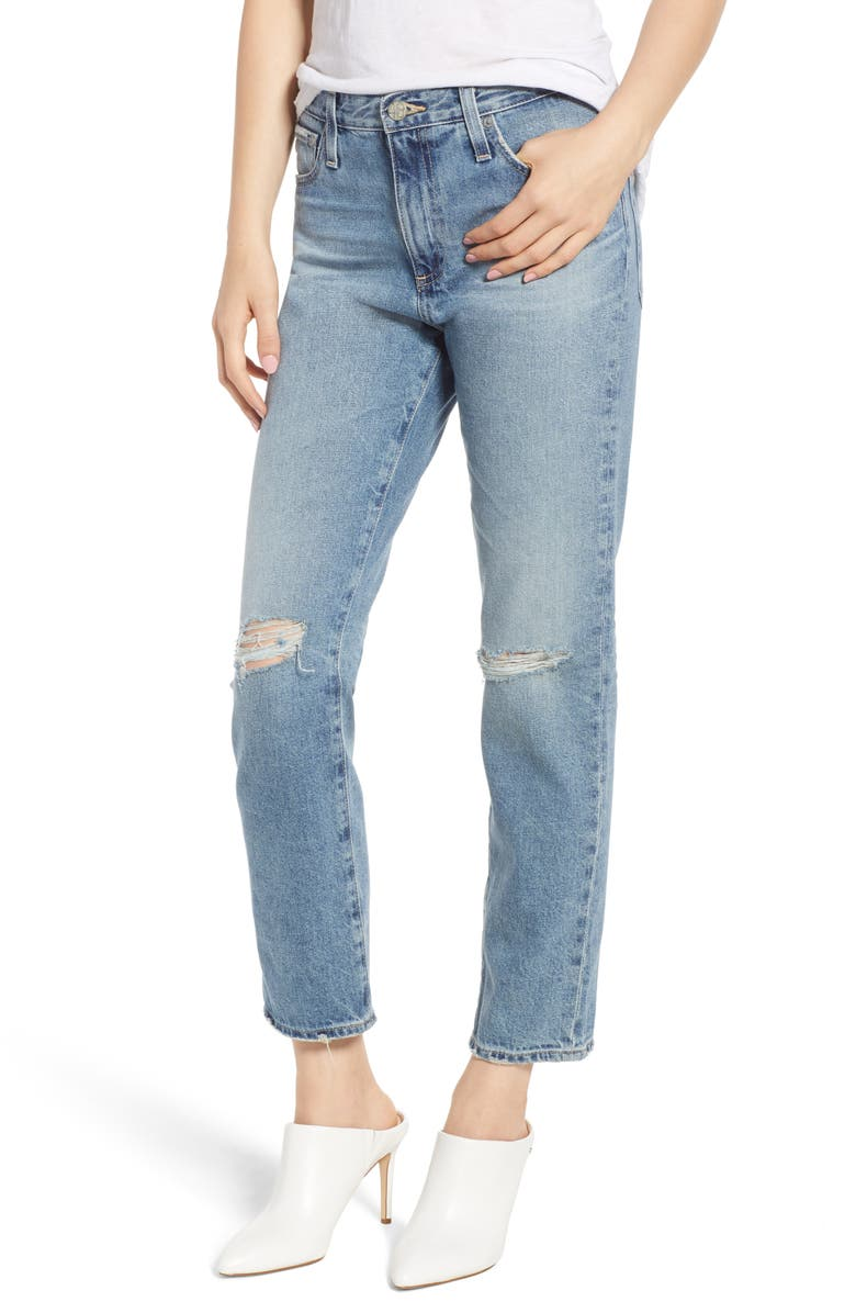 The Isabelle Ripped High Waist Ankle Straight Leg Jeans