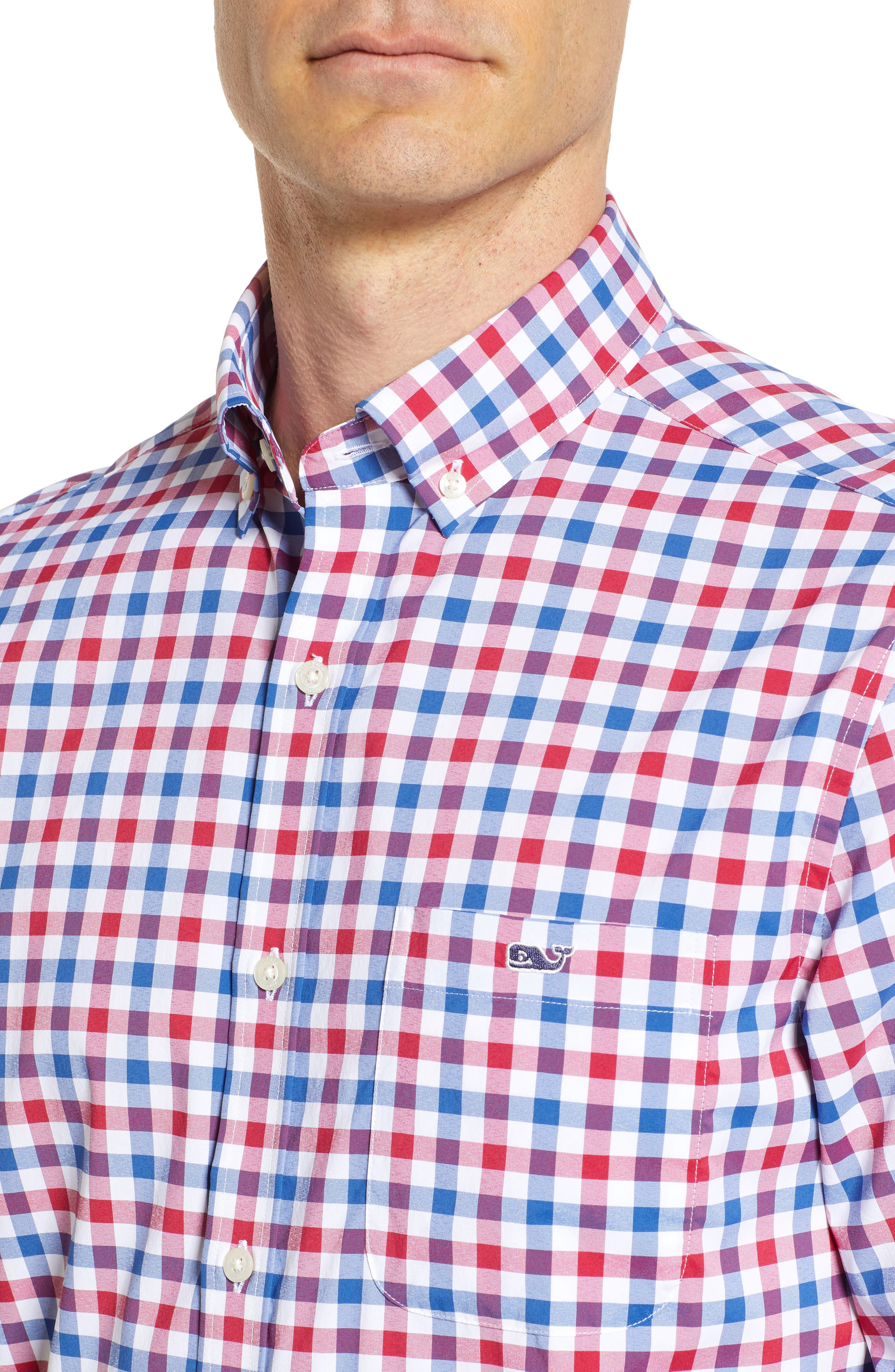 Gull Island Classic Fit Gingham Sport Shirt,                             Alternate thumbnail 2, color,                             Captains Blue