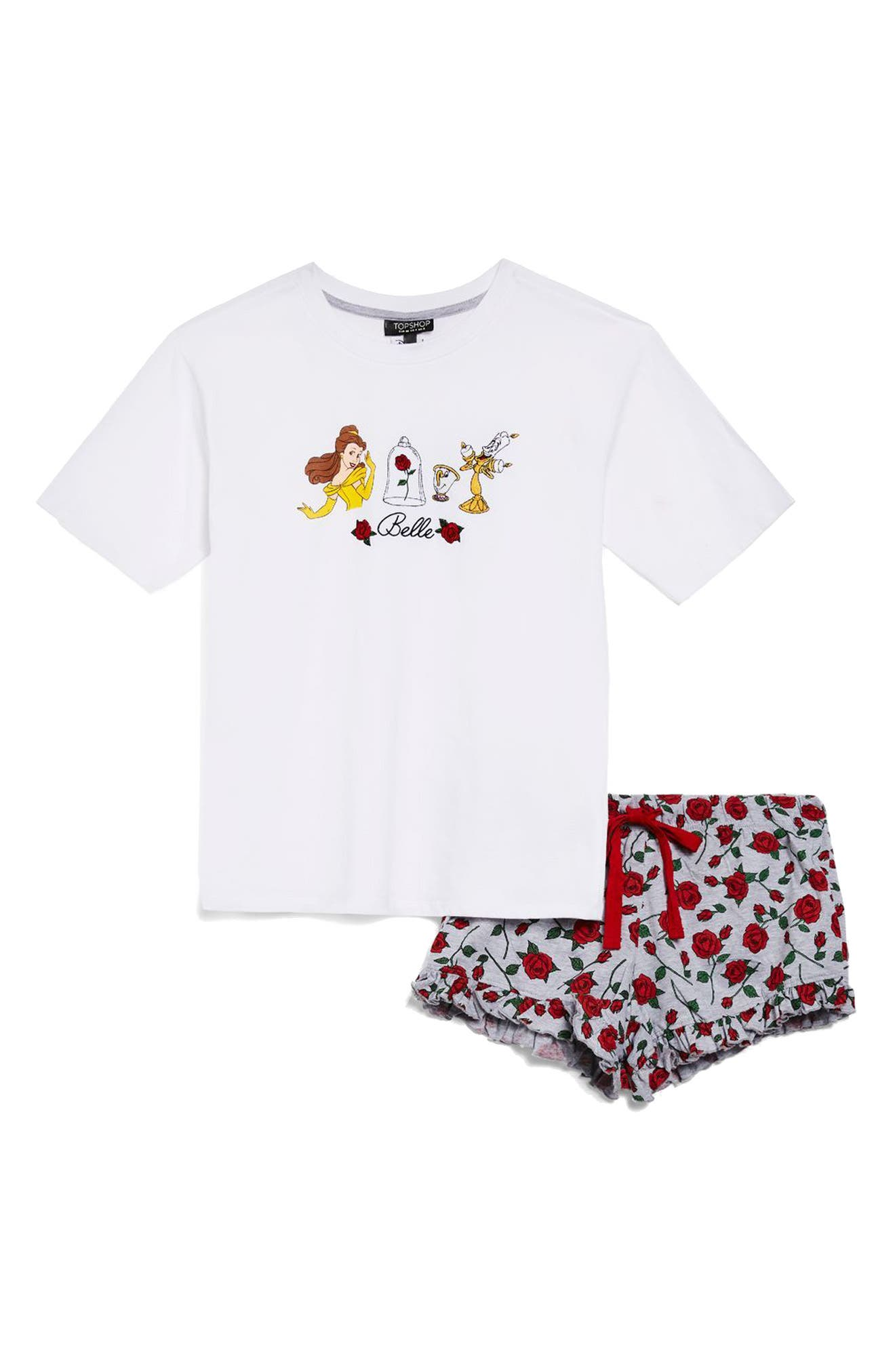 Disney<sup>®</sup> Belle Rose Short Pajamas,                             Alternate thumbnail 3, color,                             White Multi