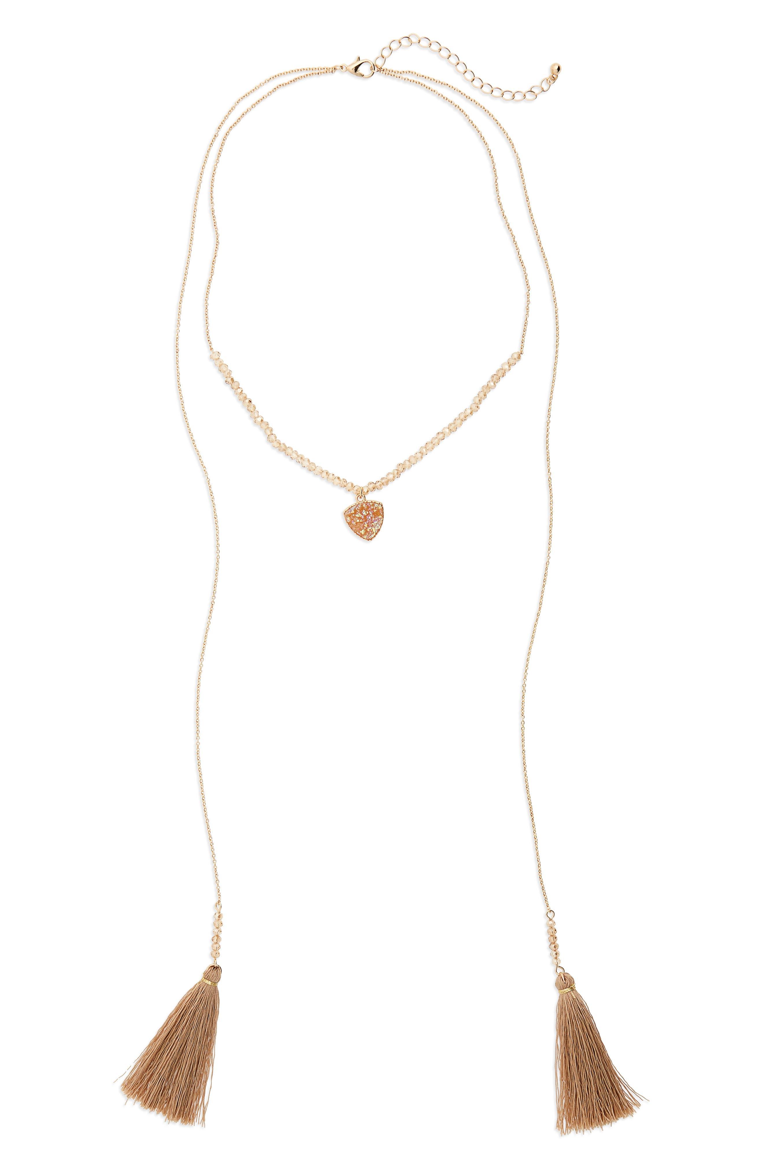 Faux Drusy Wrap Tassel Necklace,                         Main,                         color, Peach