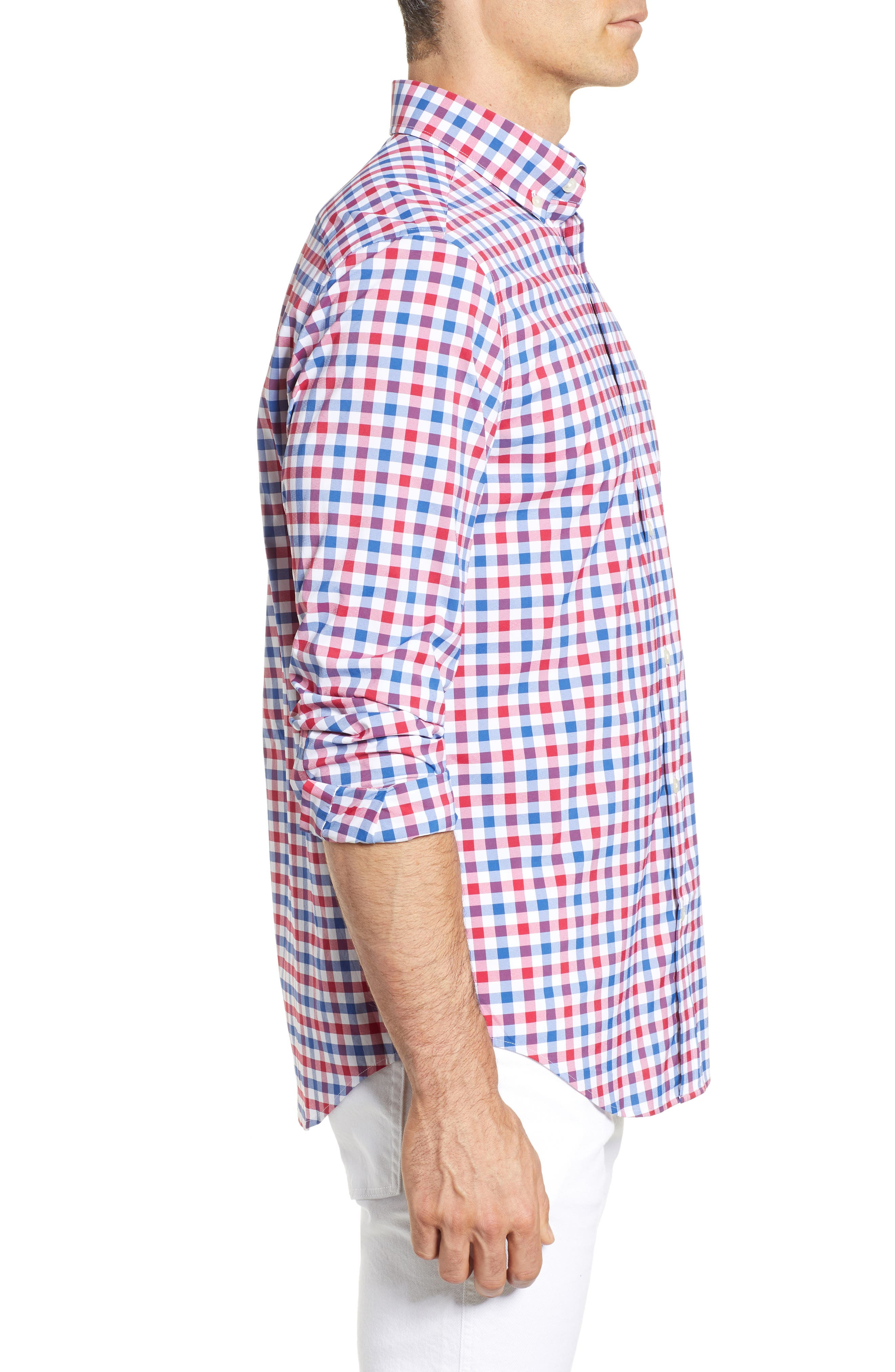 Gull Island Classic Fit Gingham Sport Shirt,                             Alternate thumbnail 4, color,                             Captains Blue