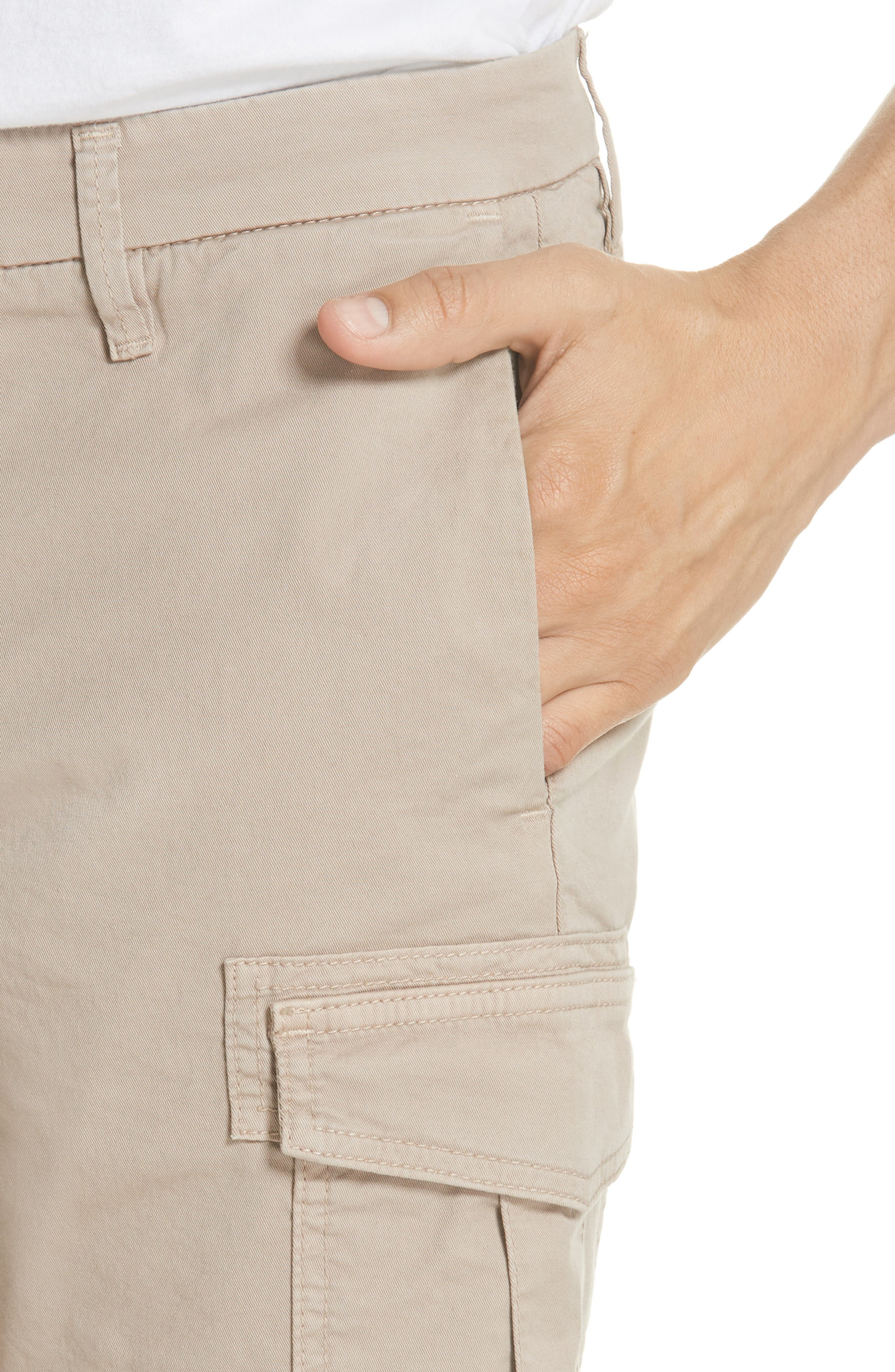 Stretch Cotton Cargo Shorts,                             Alternate thumbnail 4, color,                             Sand