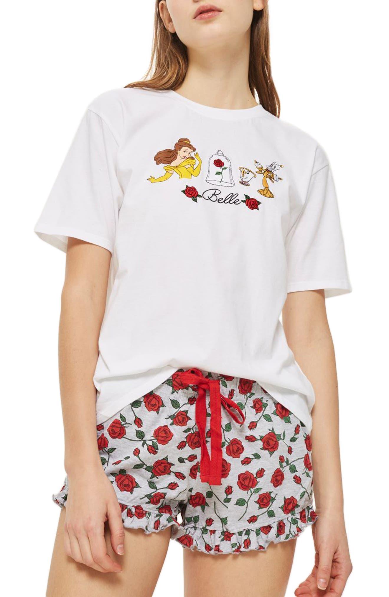 Topshop Disney® Belle Rose Short Pajamas