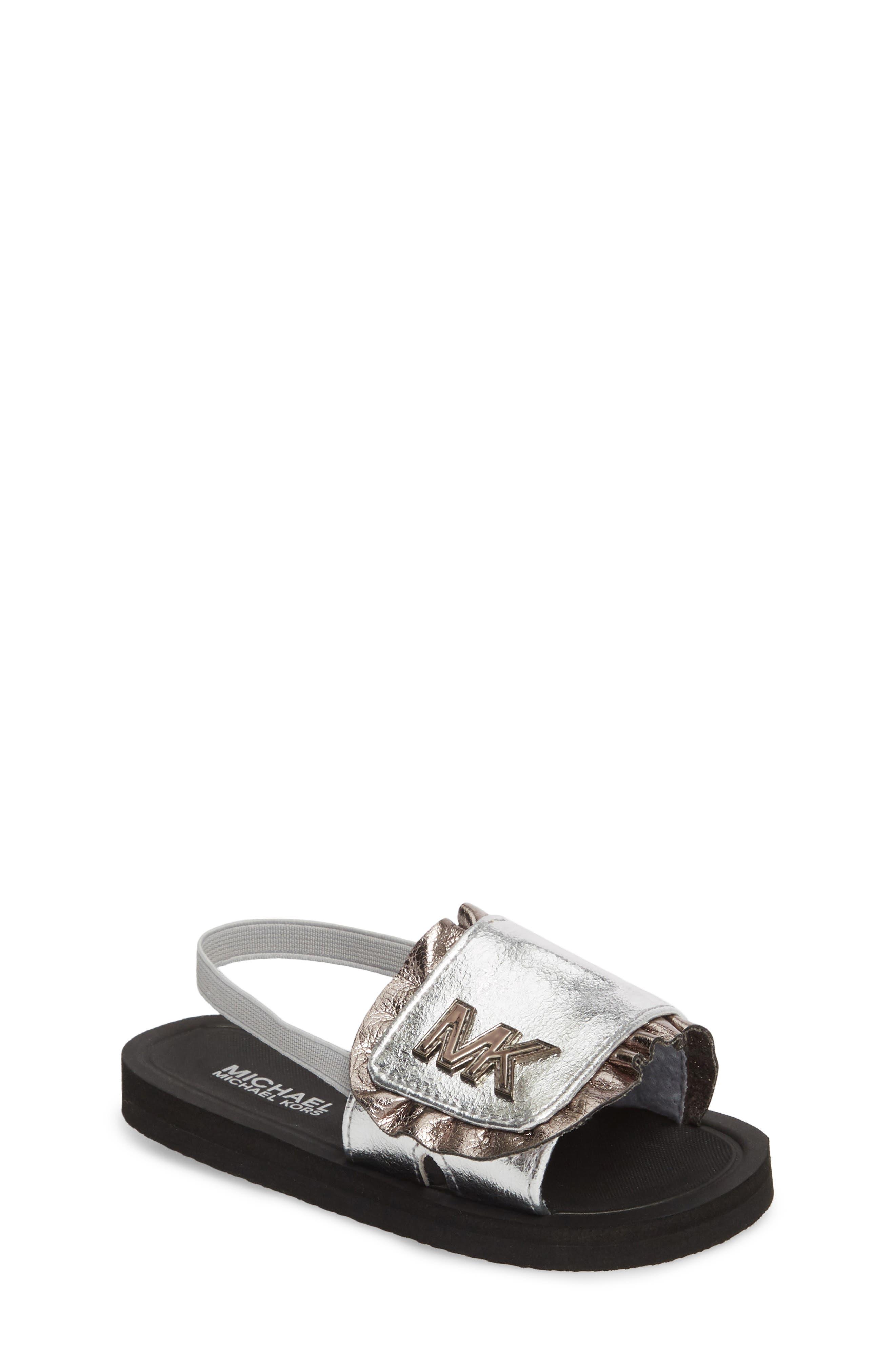 Eli Jack Metallic Sandal,                         Main,                         color, Silver