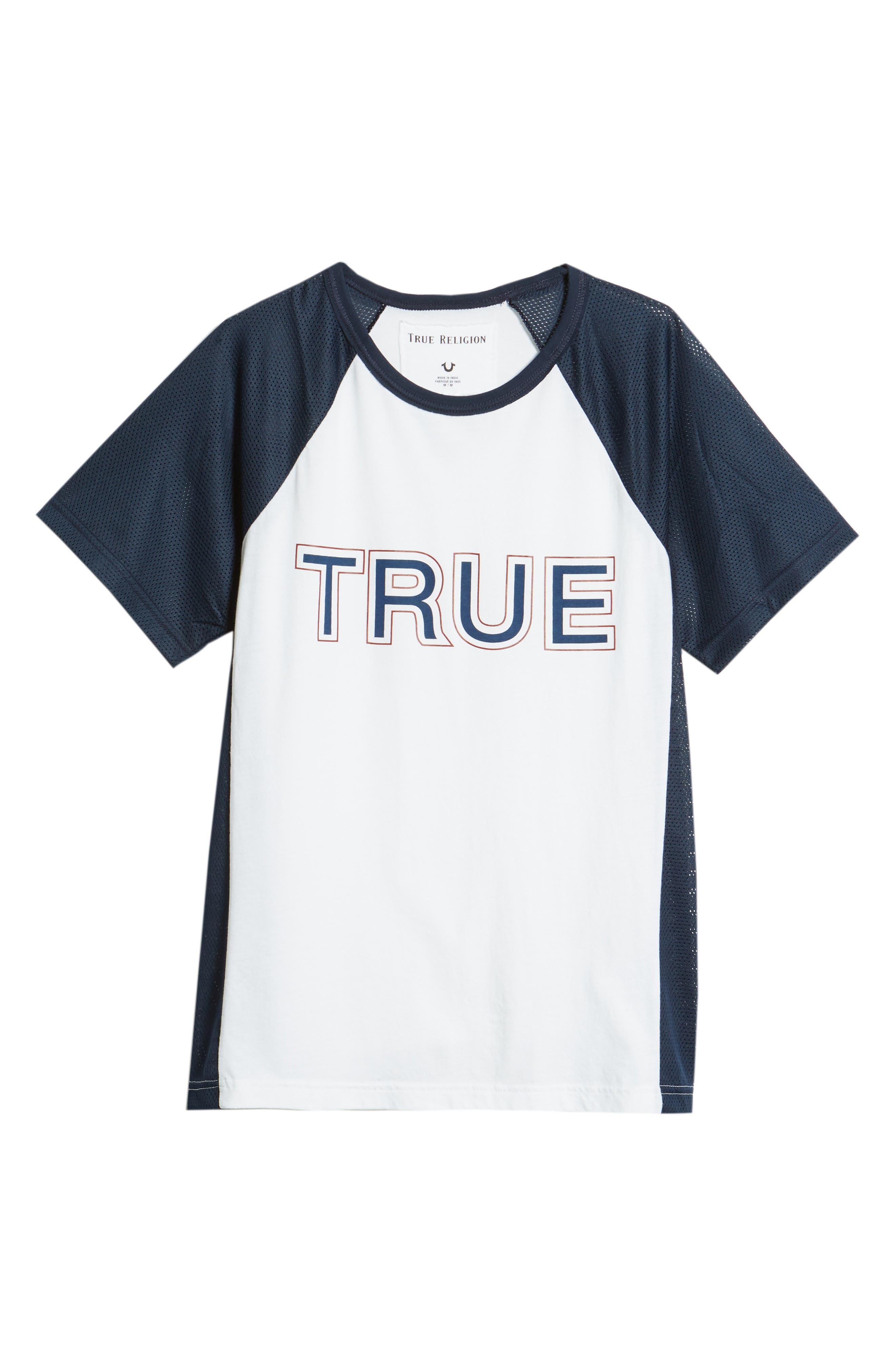 Contrast Raglan T-Shirt,                             Alternate thumbnail 6, color,                             Ace Blue/ Optic White Combo