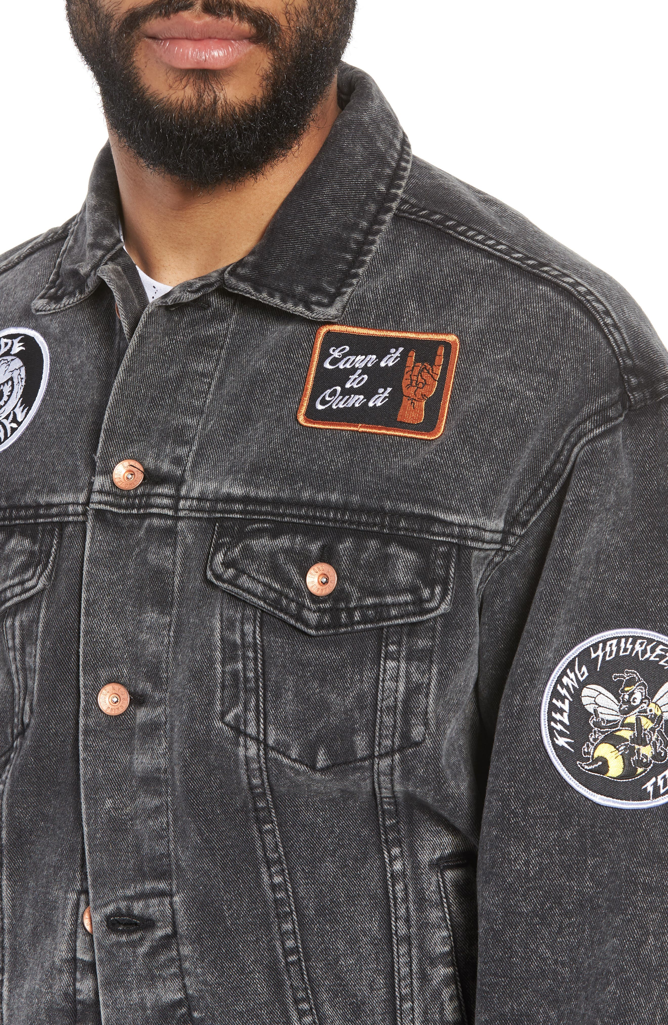 On the Bowery Denim Jacket,                             Alternate thumbnail 4, color,                             Grey Ghost