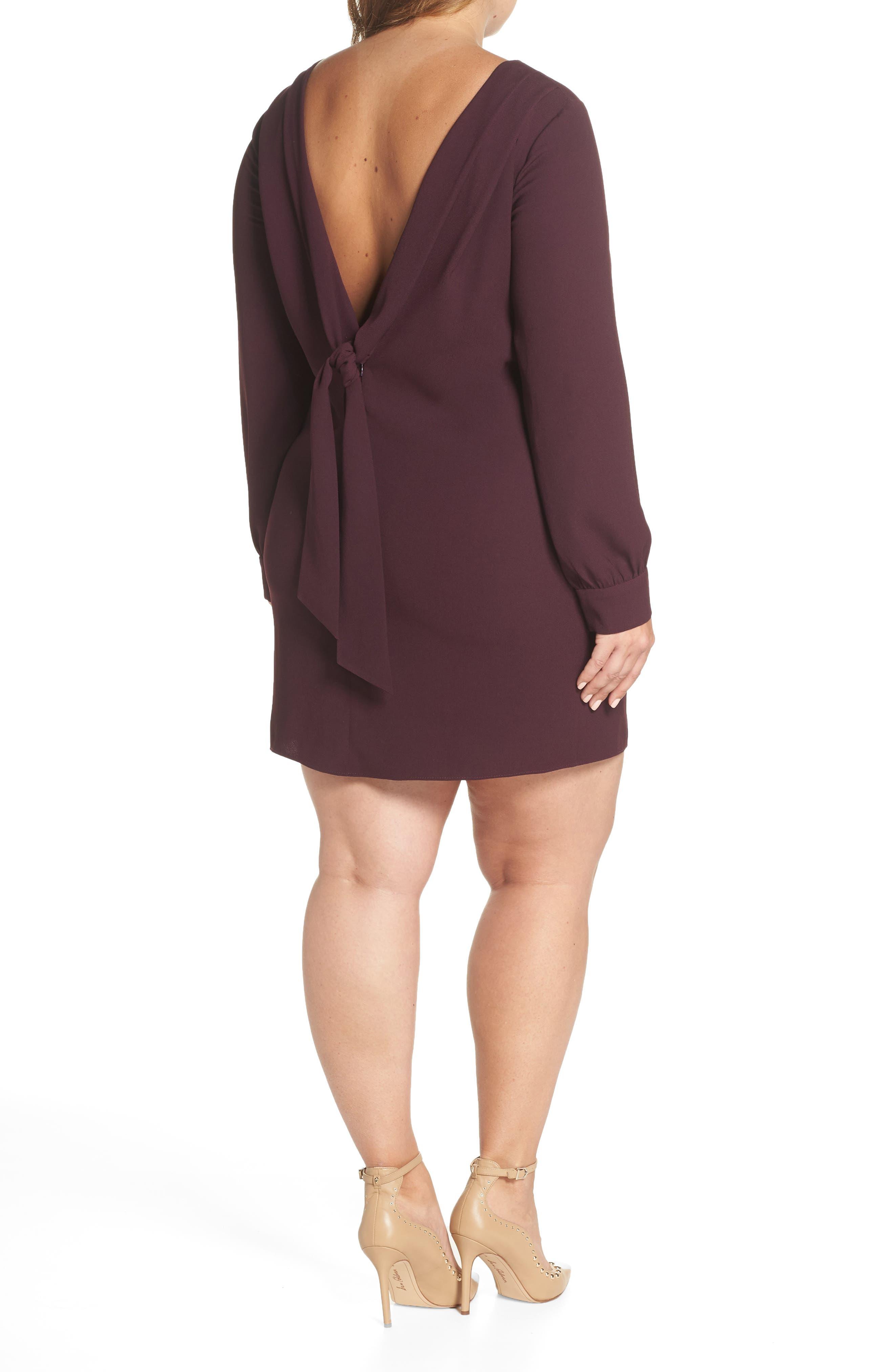V-Back Shift Dress,                             Alternate thumbnail 8, color,                             Burgundy Stem