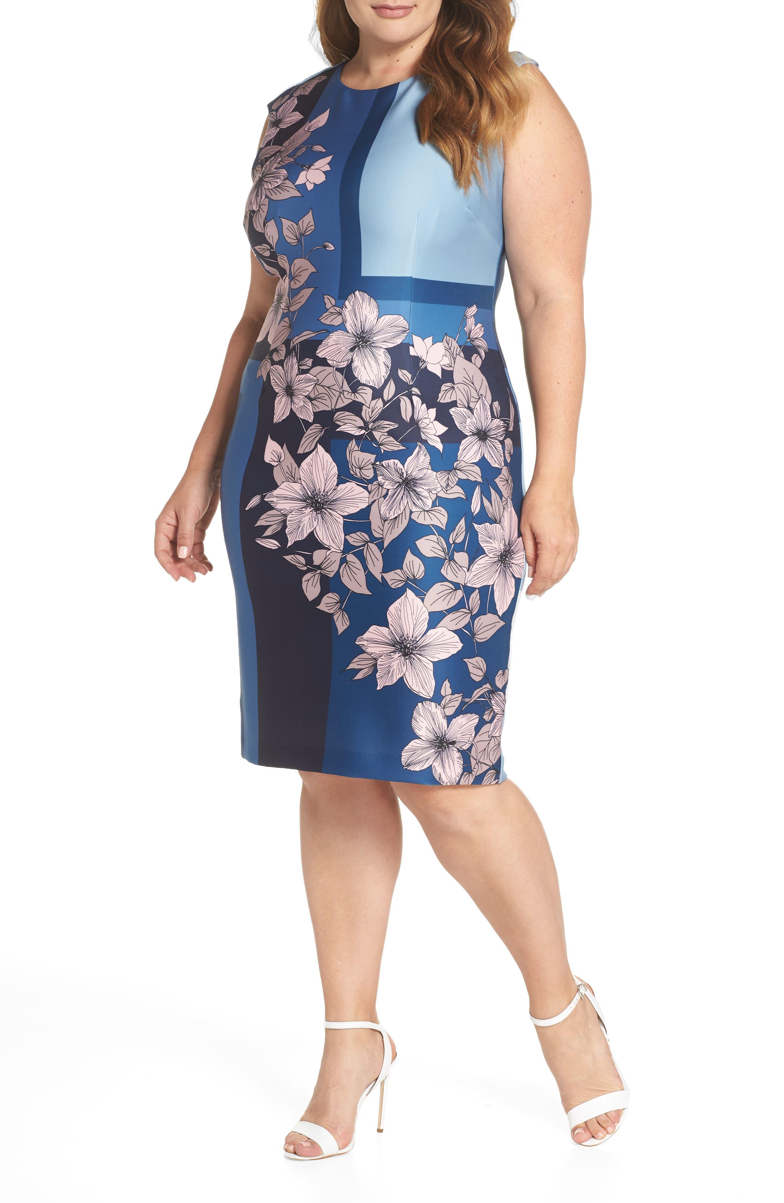 Print Scuba Body-Con Dress,                         Main,                         color, Blue/ Blush Floral