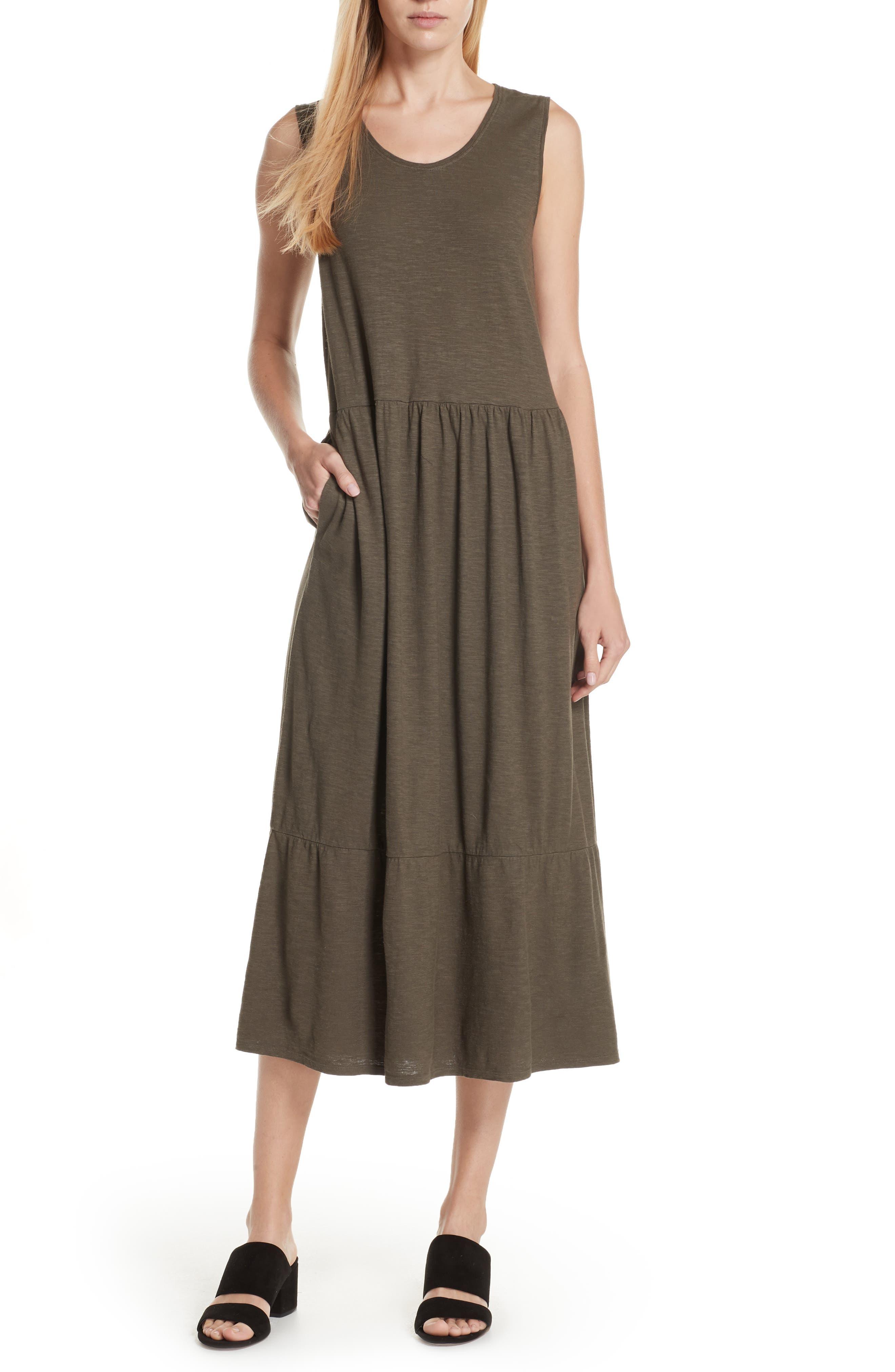 Eileen Fisher Scooped Neck Hemp & Cotton Midi Dress (Regular & Petite)