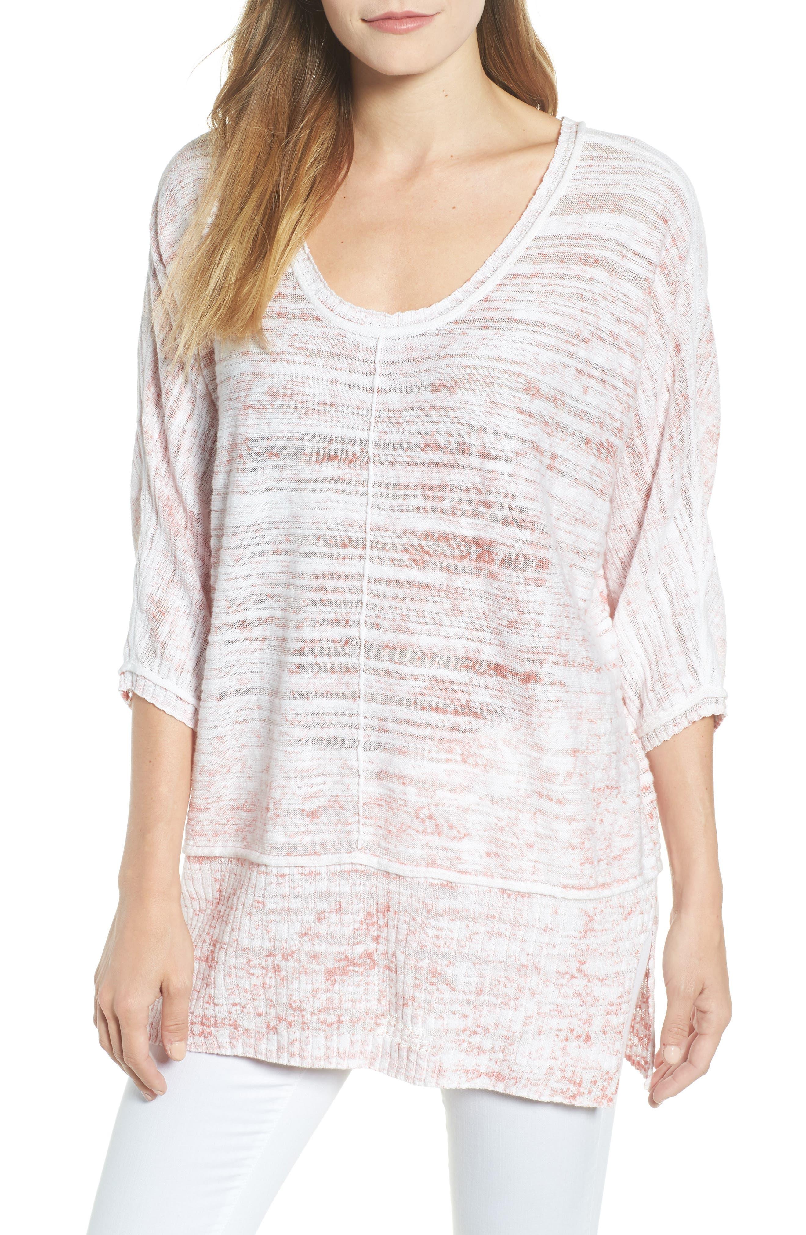 Open Breeze Linen Cotton Blend Sweater,                         Main,                         color, Pink Clay