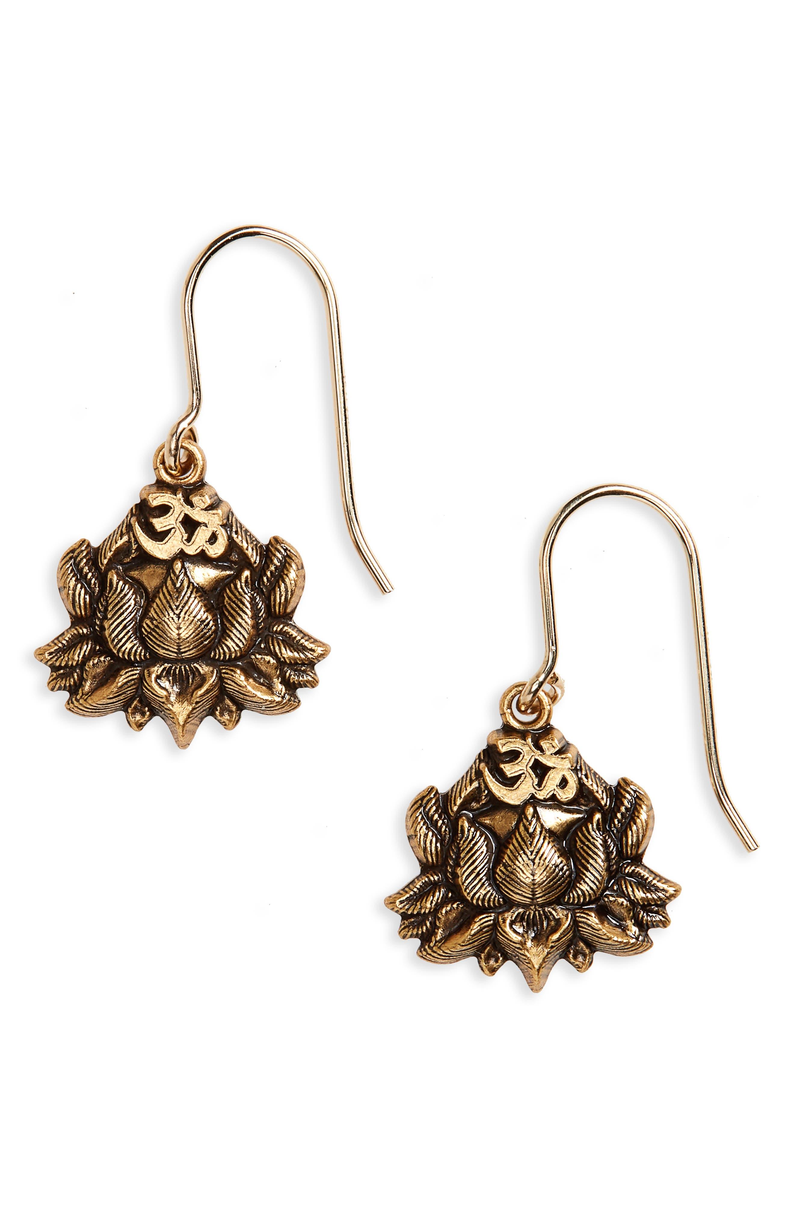Lotus Peace Petals Drop Earrings,                         Main,                         color, Gold