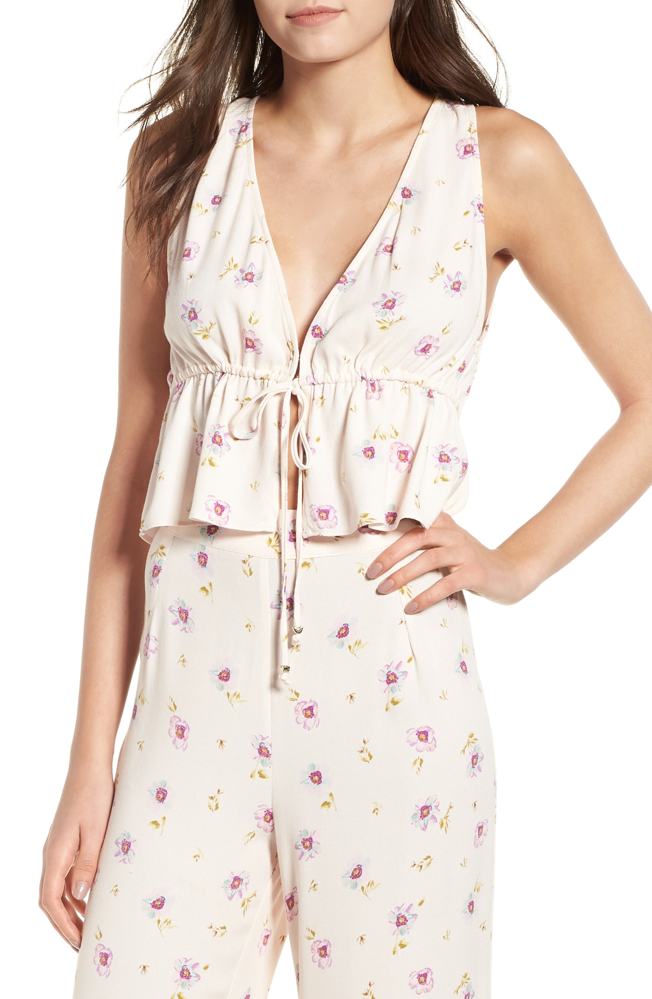 Maiden Tie Front Tank,                         Main,                         color, Lilac Floral