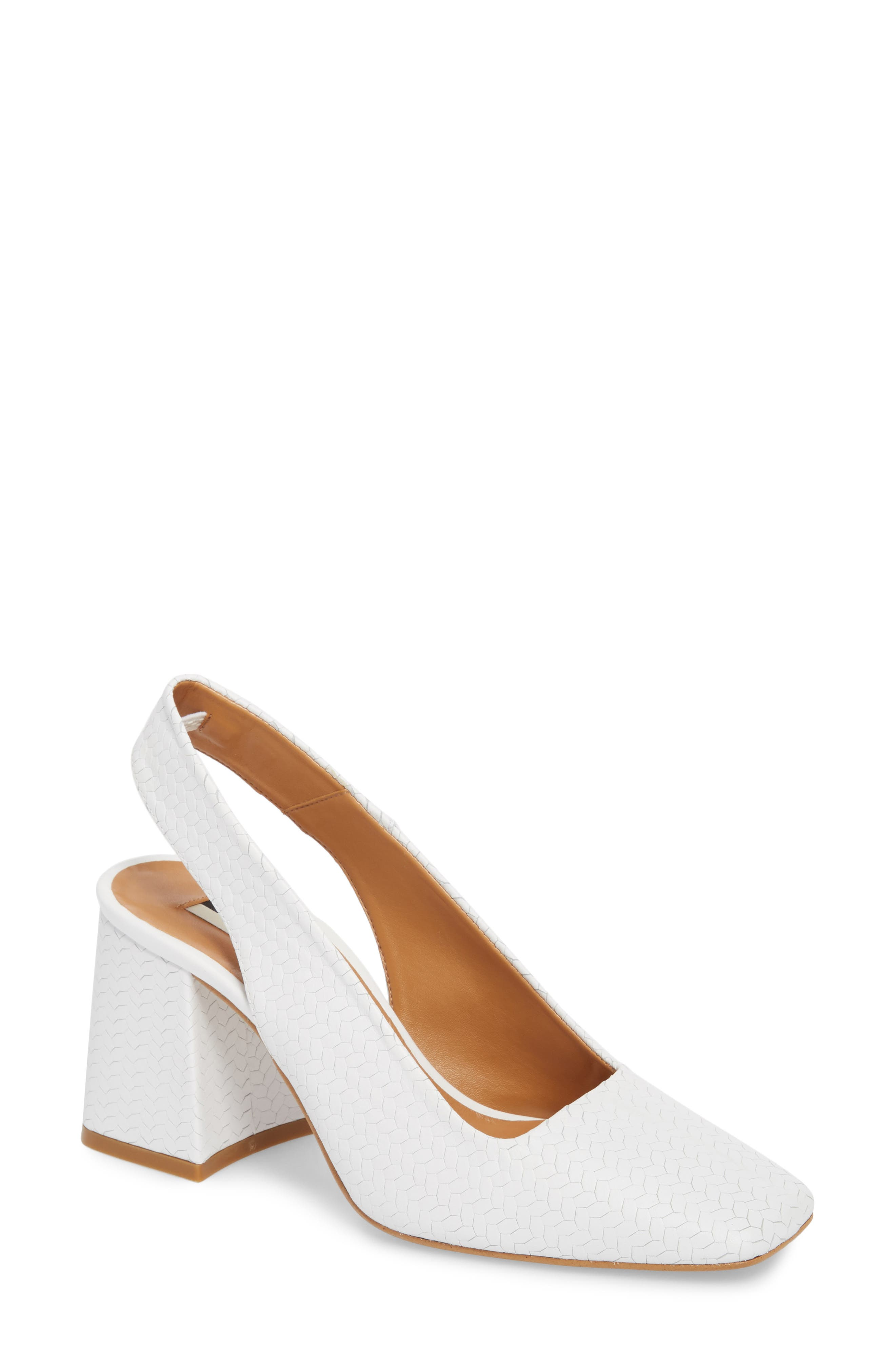 Gainor Block Heel Slingback Pump,                             Main thumbnail 1, color,                             White
