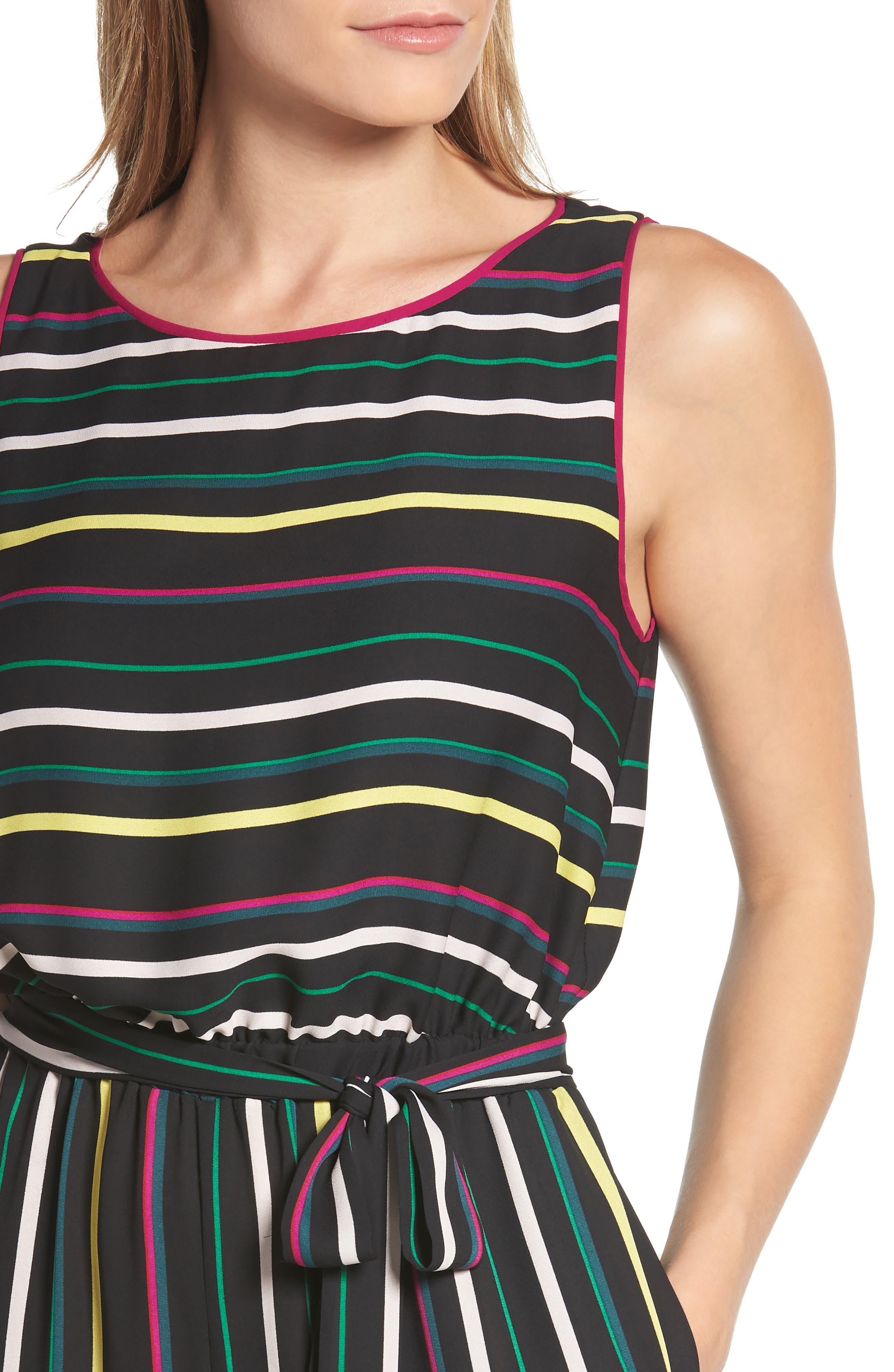 Paradise Stripe Jumpsuit,                             Alternate thumbnail 4, color,                             Rich Black