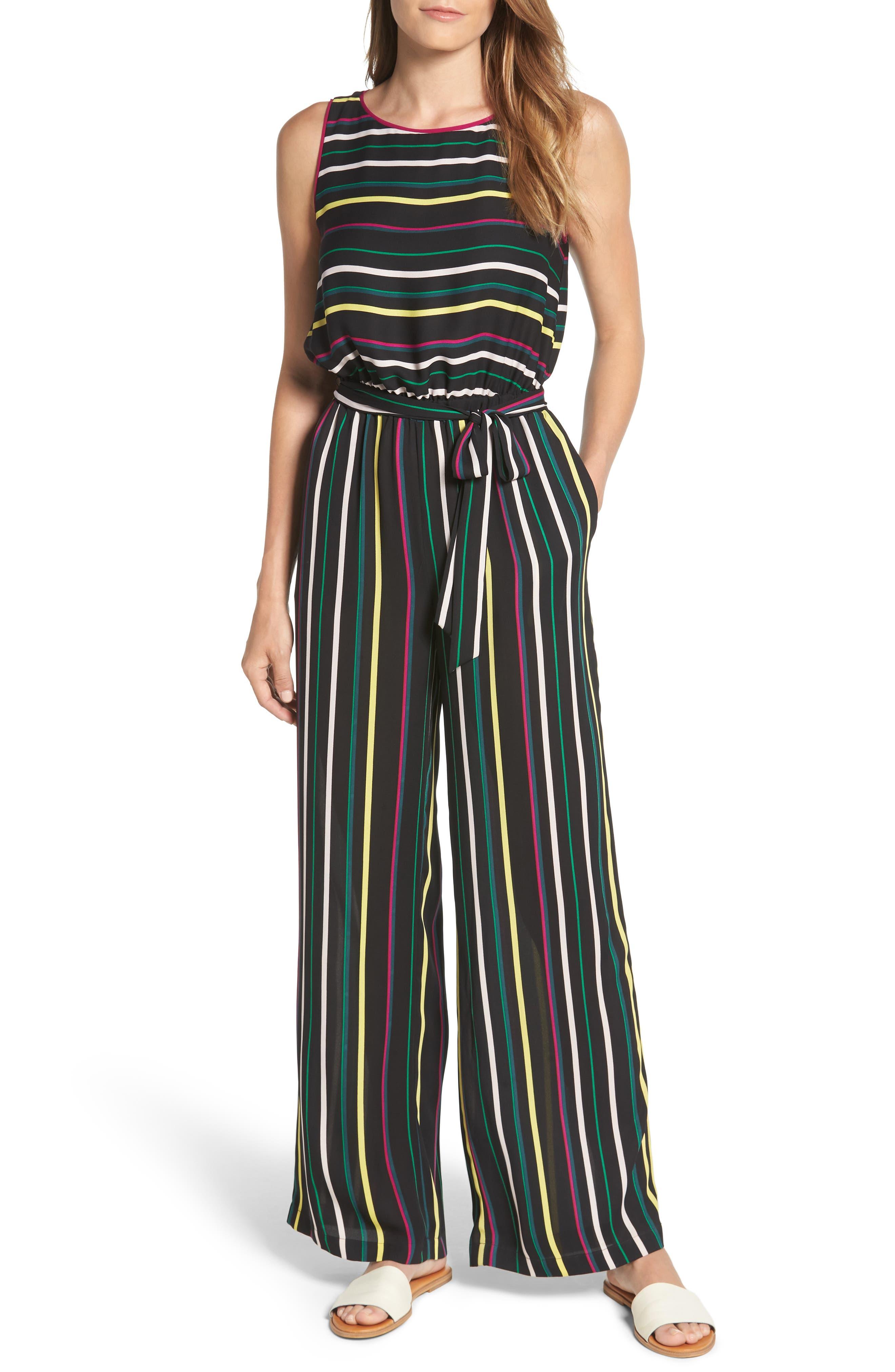 Paradise Stripe Jumpsuit,                             Main thumbnail 1, color,                             Rich Black
