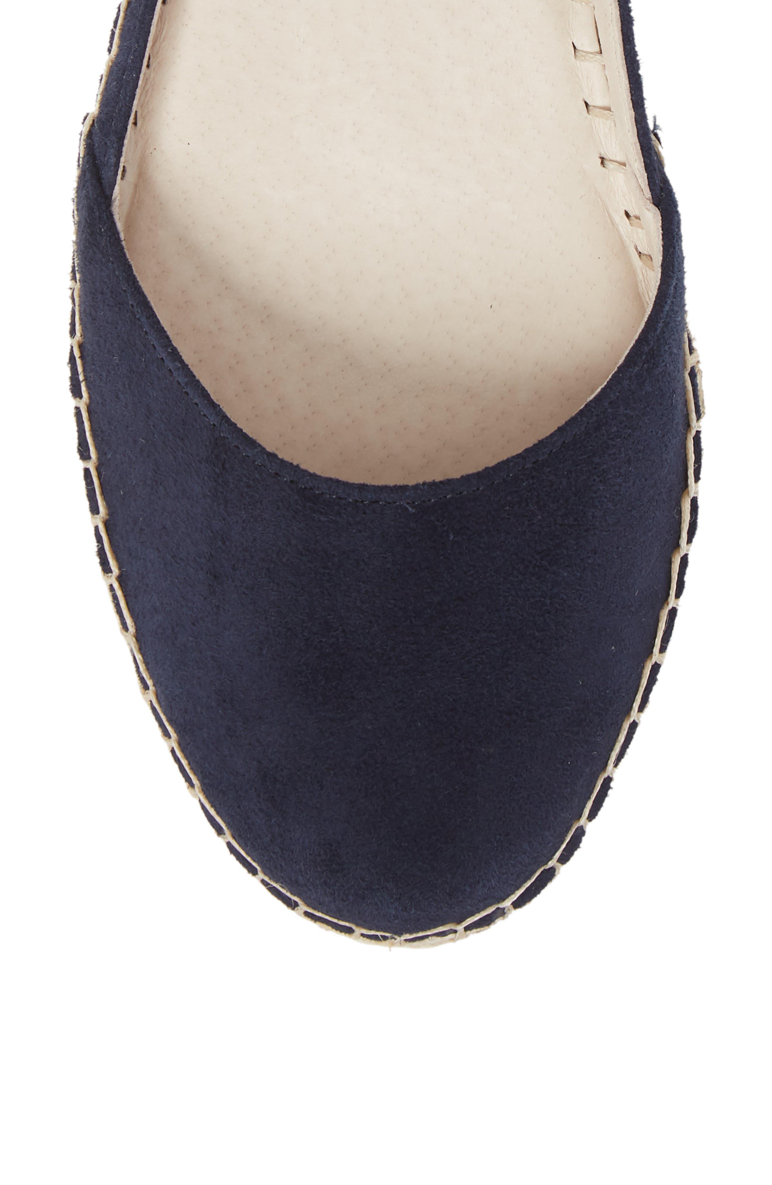 Leena Ankle Strap Sandal,                             Alternate thumbnail 5, color,                             Navy Suede