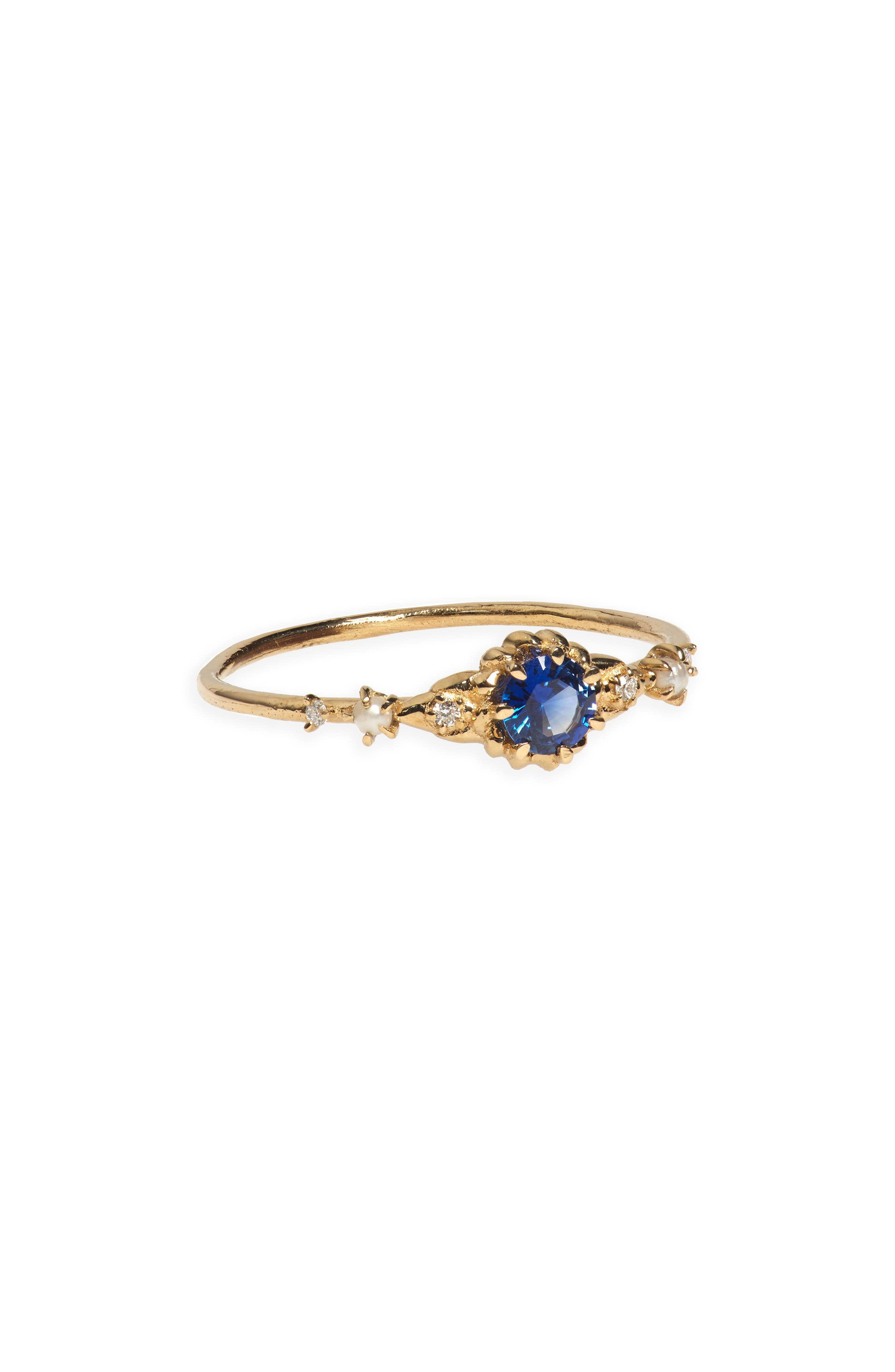 Sofia Zakia Clara's Dream Sapphire, Diamond & Freshwater Pearl Ring