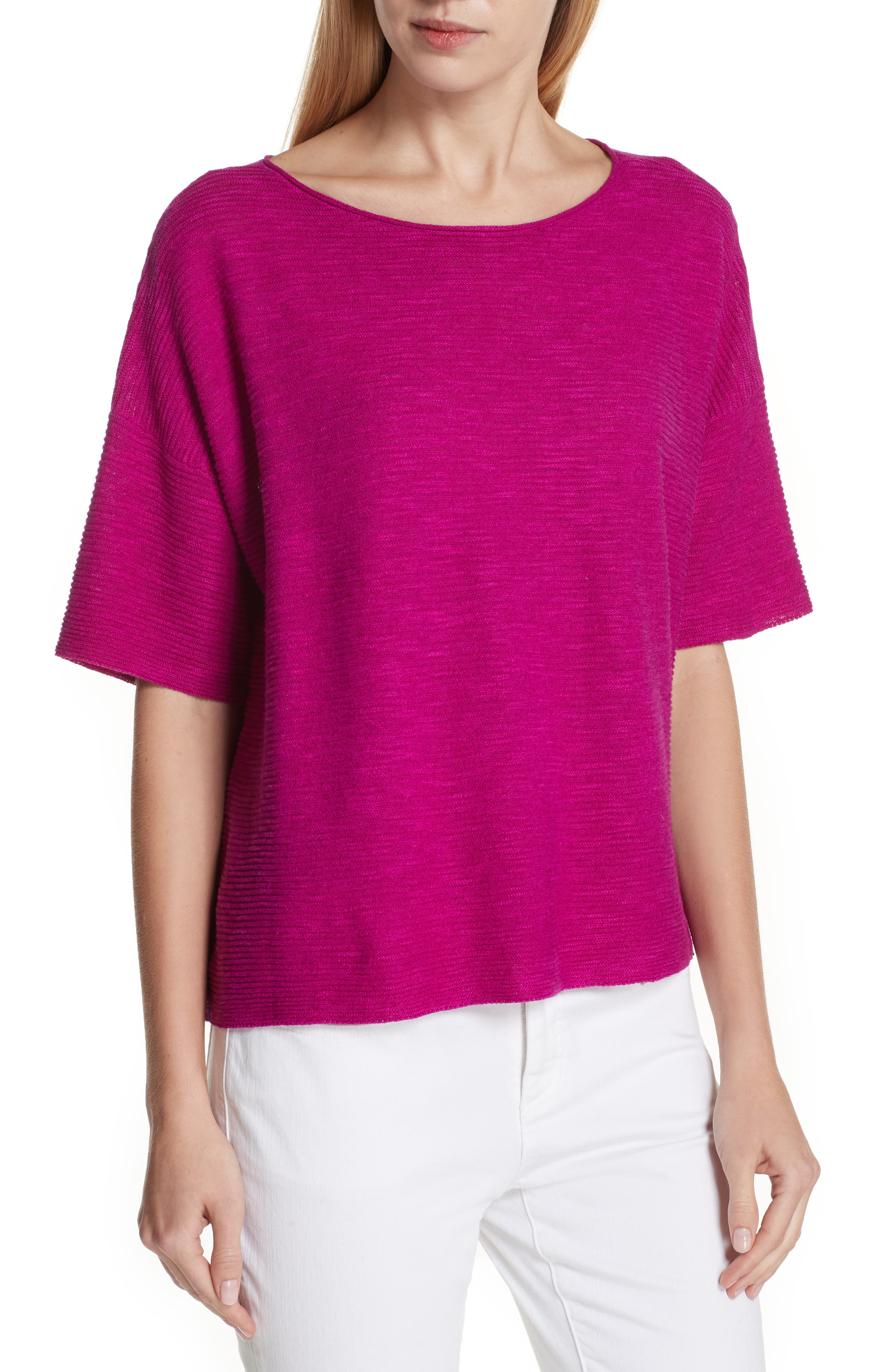 Eileen Fisher Bateau Neck Linen & Cotton Box Top (Petite)