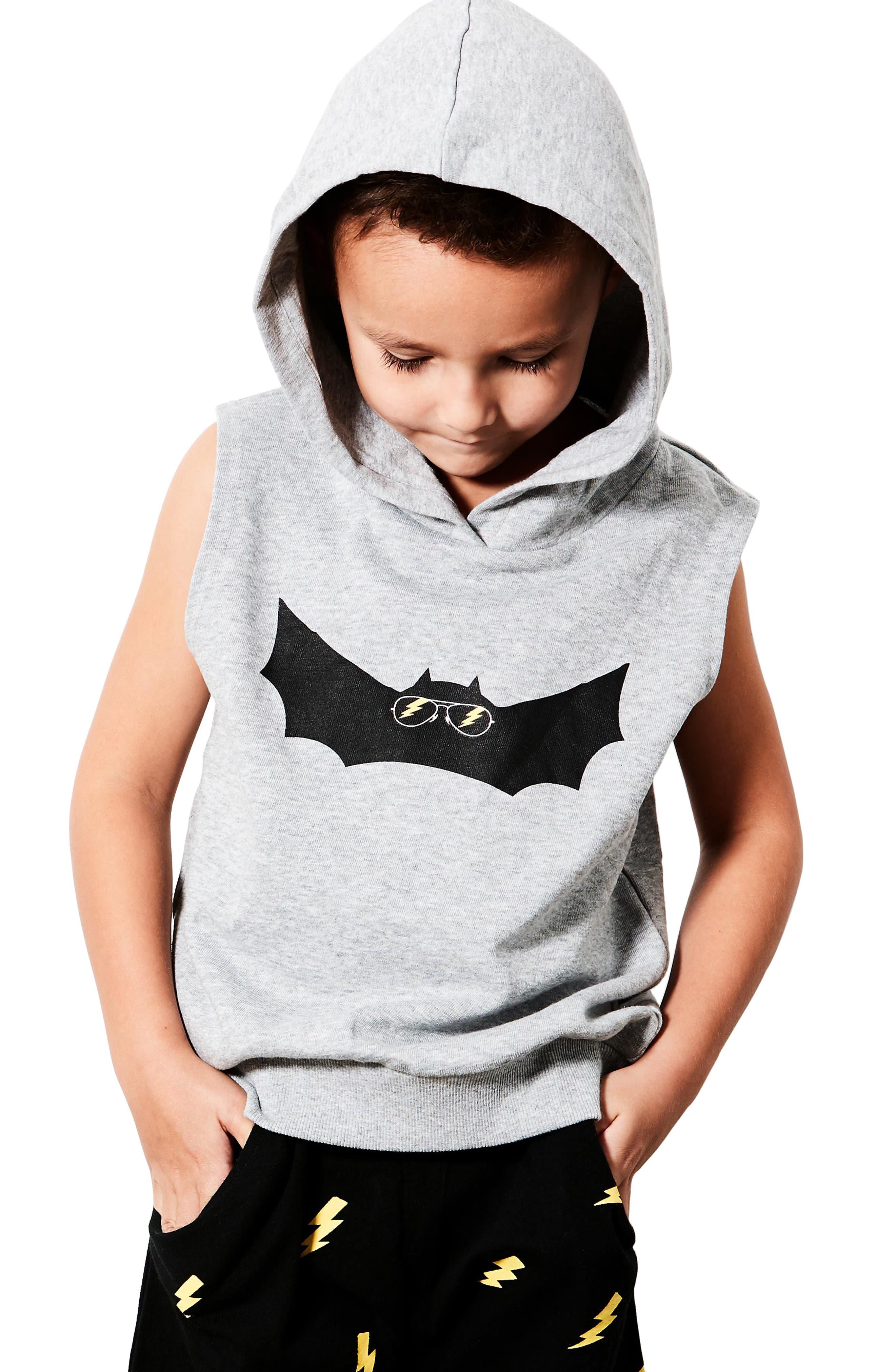 Electric Bat Hooded Vest,                             Alternate thumbnail 3, color,                             Grey