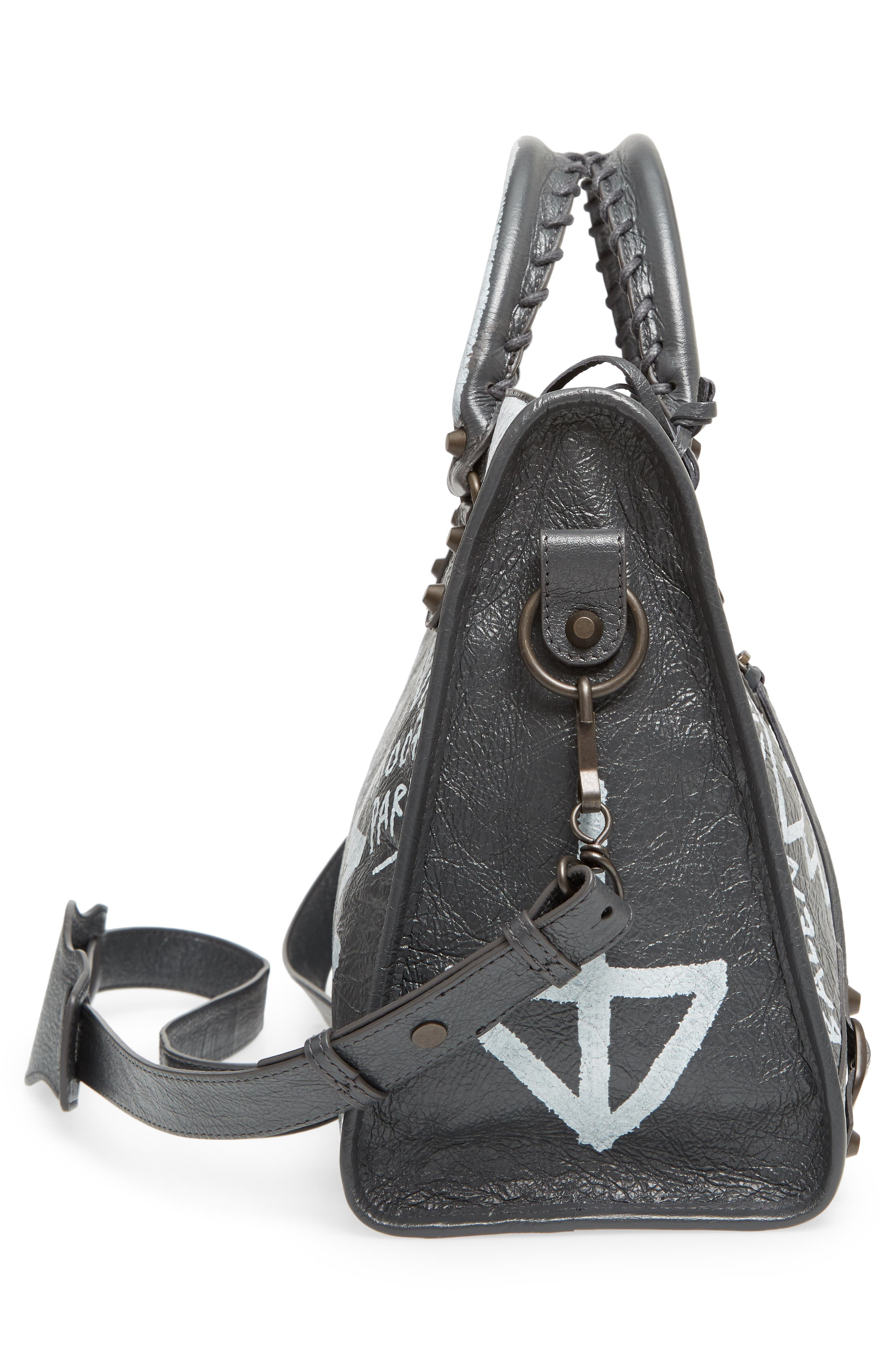 City Graffiti Leather Tote,                             Alternate thumbnail 5, color,                             Gris Fossile/ Blanc