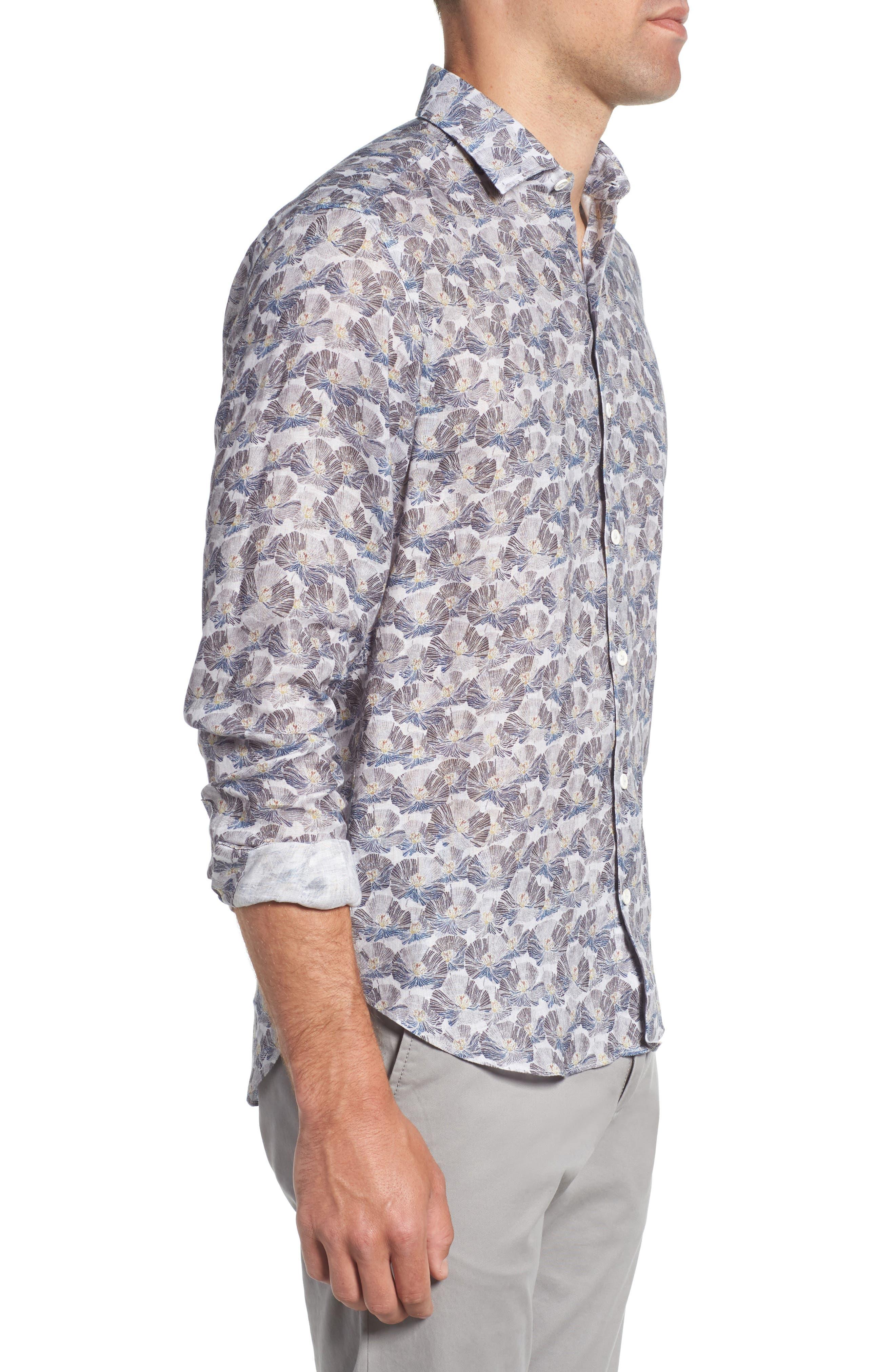 Trim Fit Print Linen Sport Shirt,                             Alternate thumbnail 3, color,                             Grey