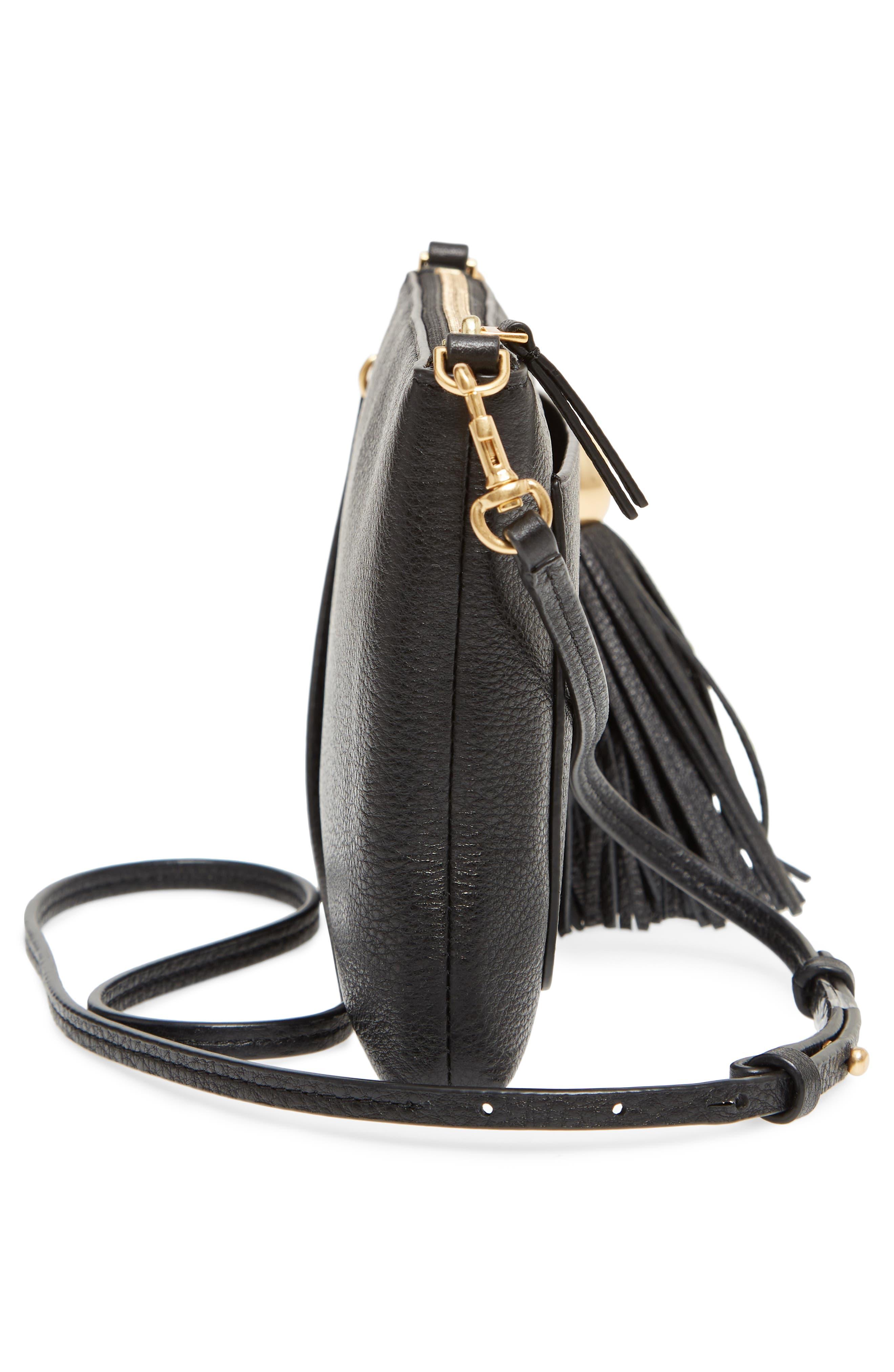 Tassel Leather Crossbody Bag,                             Alternate thumbnail 5, color,                             Black