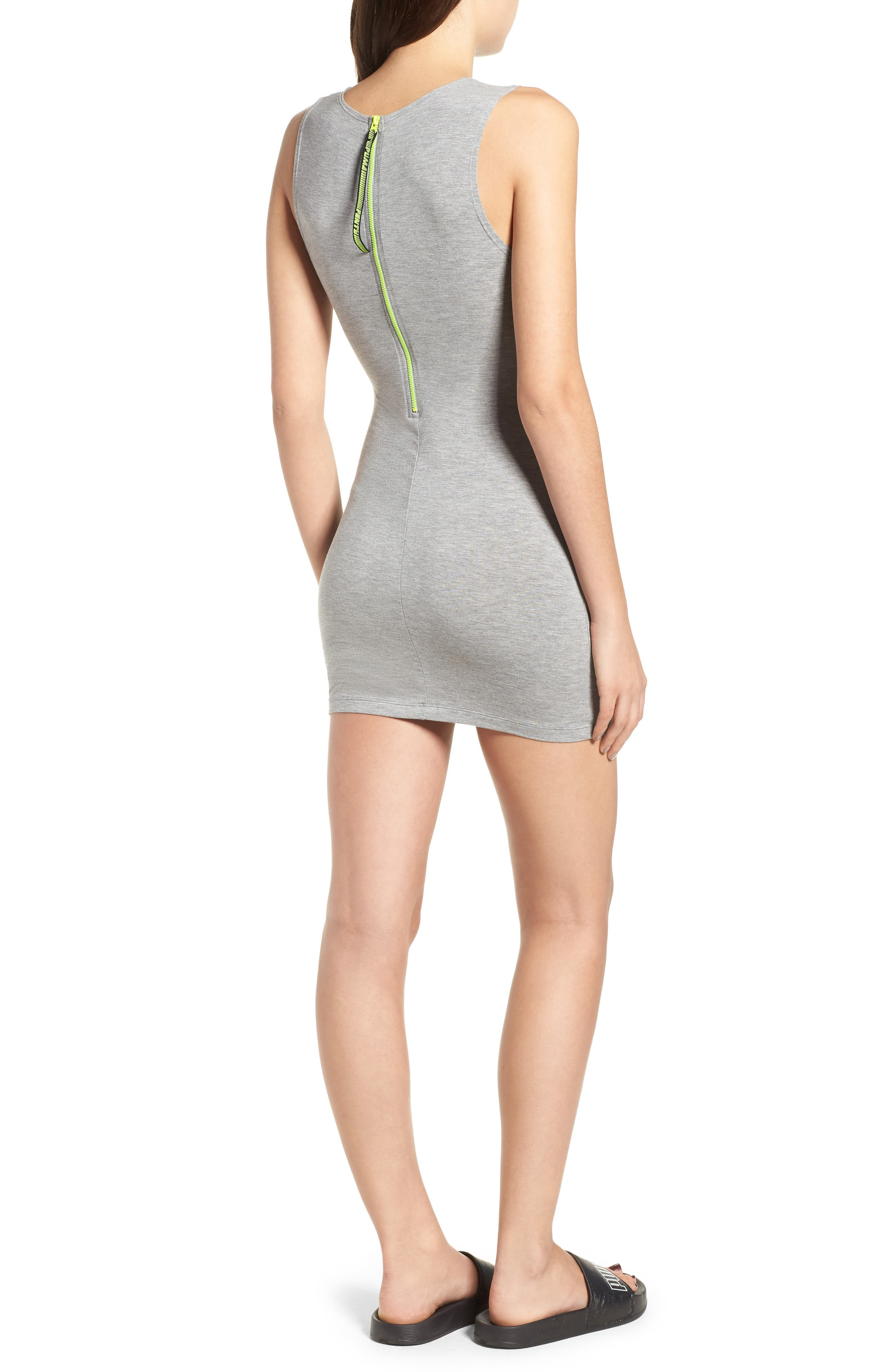 PUMA by Rihanna Body-Con Dress,                             Alternate thumbnail 2, color,                             Athletic Gray Heather