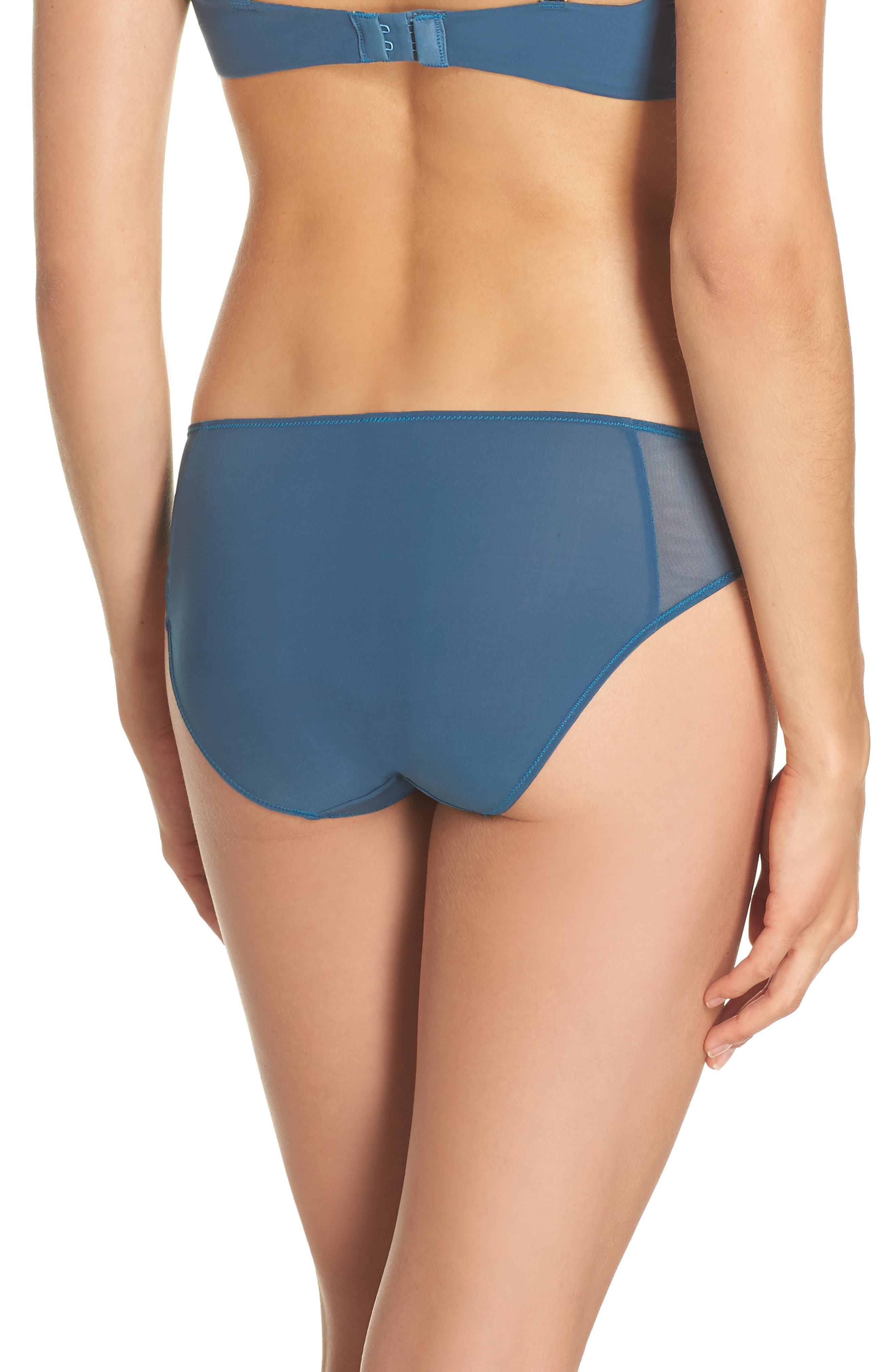 Mesh Trim Bikini,                             Alternate thumbnail 2, color,                             Blue Hematite