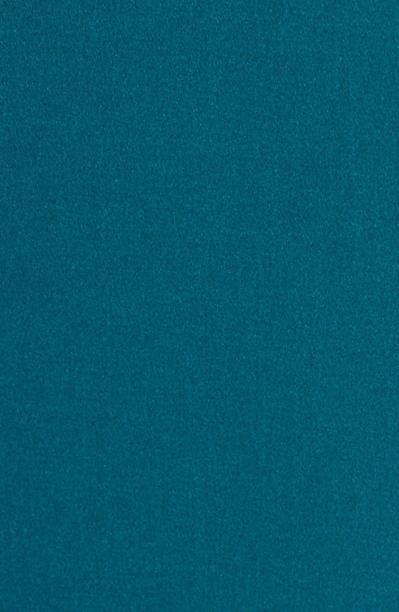 Ruffle Sheath Dress,                             Alternate thumbnail 6, color,                             Peacock