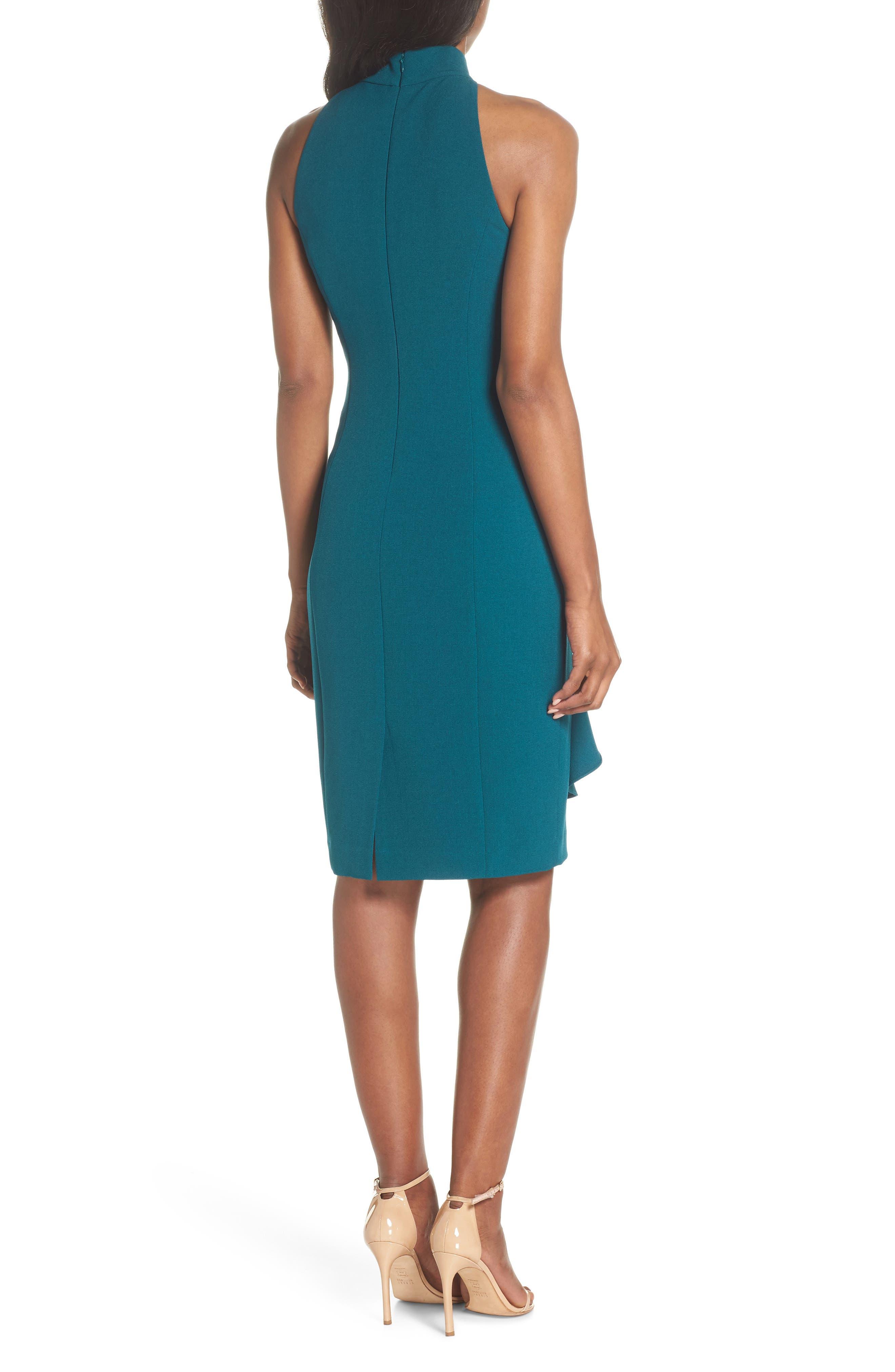 Ruffle Sheath Dress,                             Alternate thumbnail 2, color,                             Peacock