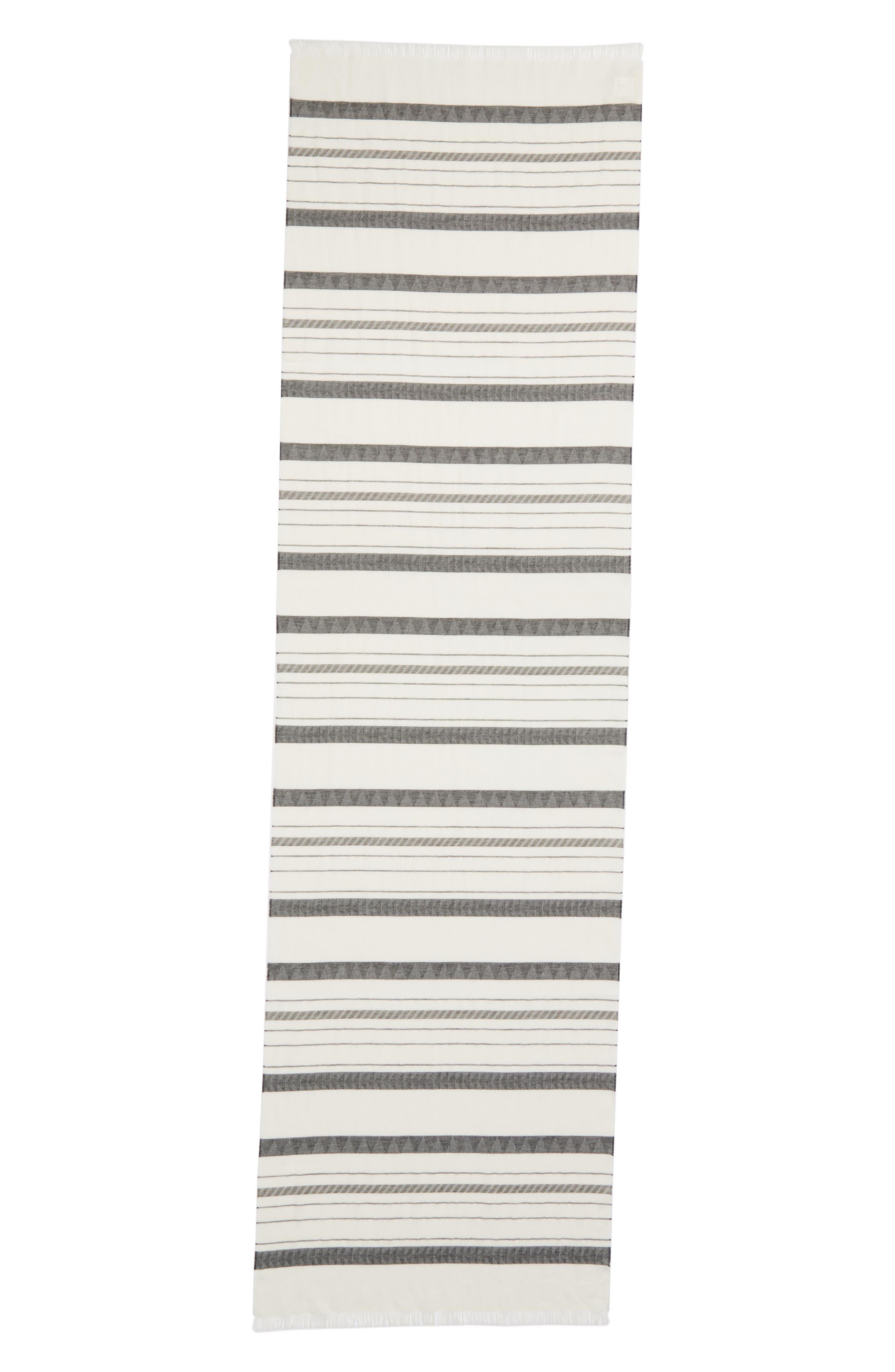 Stripe Organic Cotton & Linen Scarf,                             Alternate thumbnail 5, color,                             White