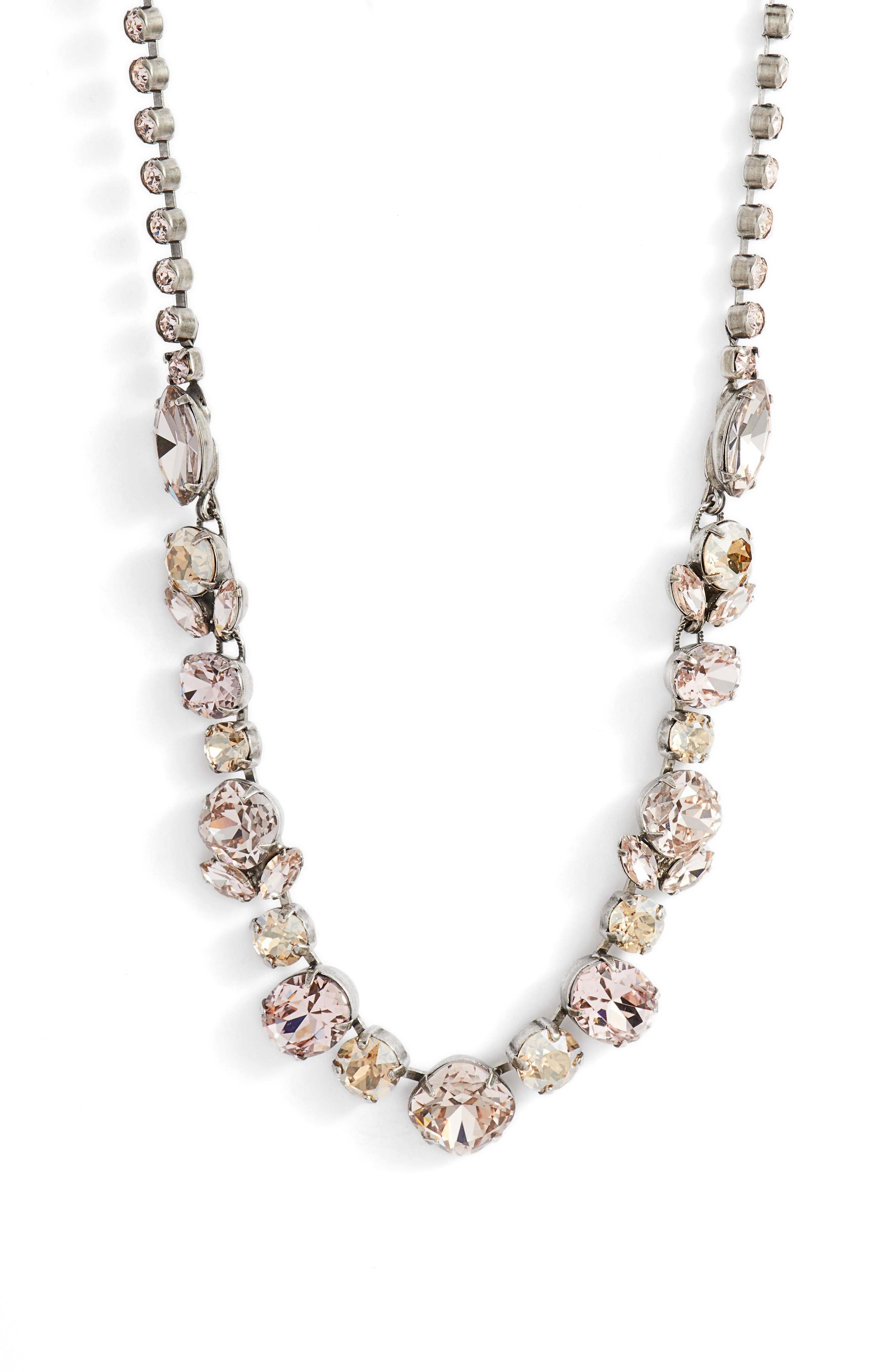 Sparkling Siren Crystal Necklace,                         Main,                         color, Pink