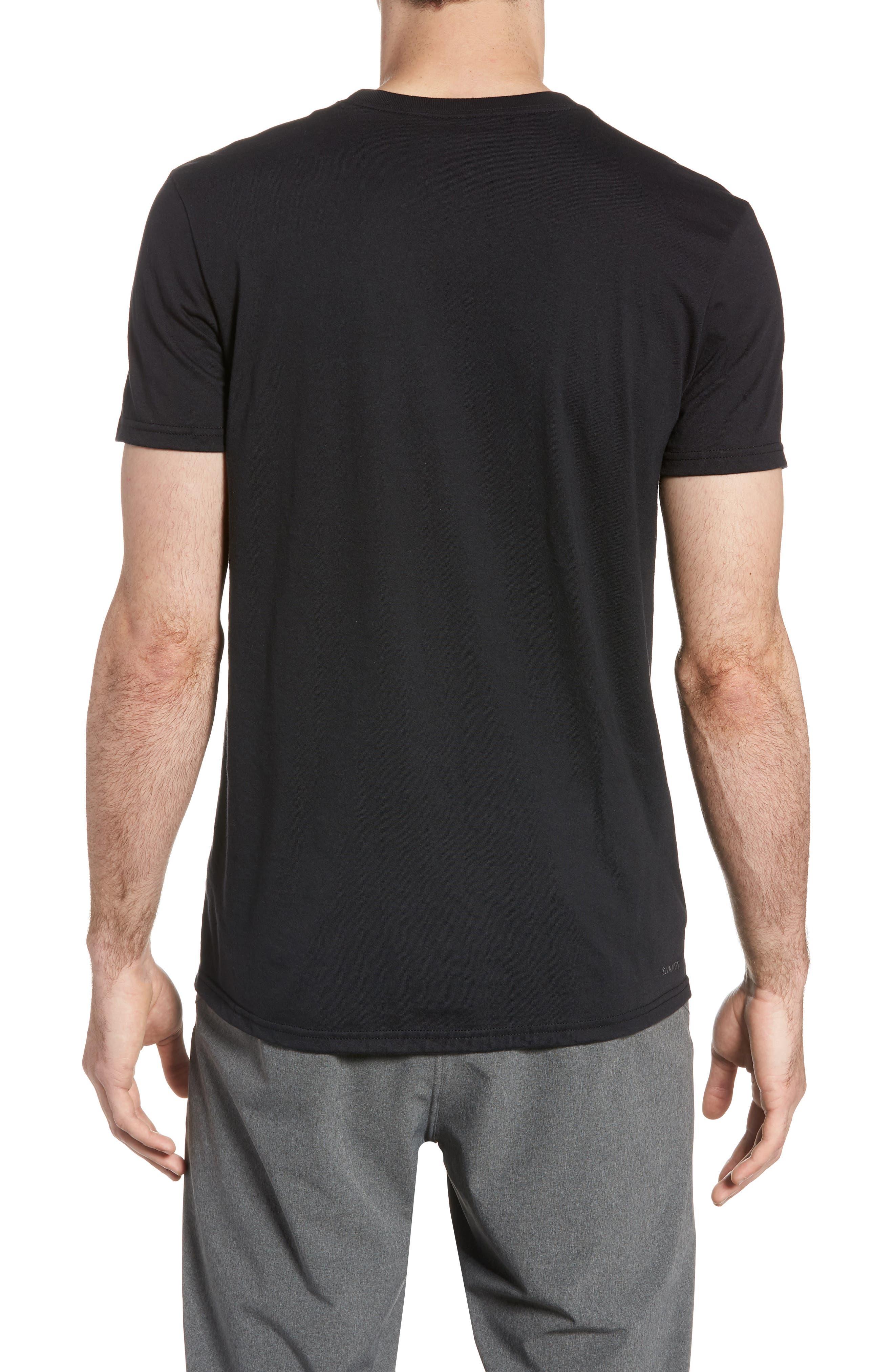 Three Stripe Life Metallic T-Shirt,                             Alternate thumbnail 2, color,                             Black / White