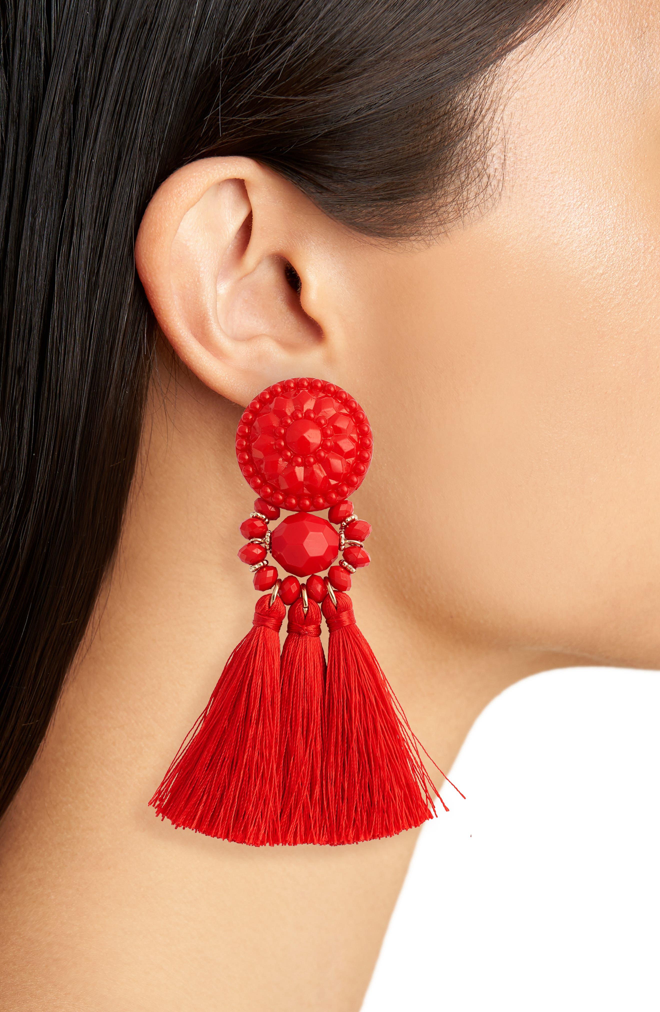 Flower Post Tassel Earrings,                             Alternate thumbnail 2, color,                             Red