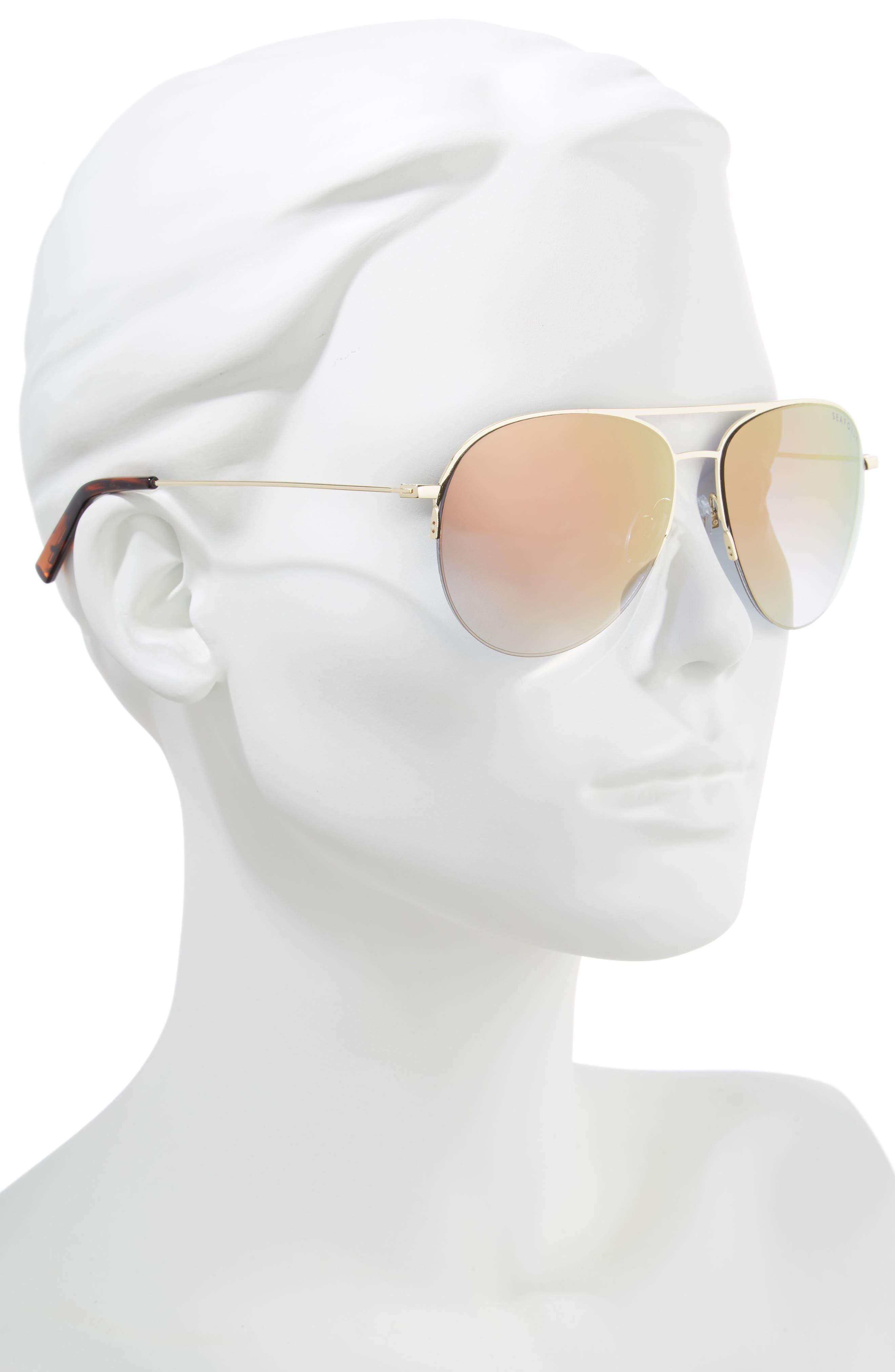 Tamarama 60mm Aviator Sunglasses,                             Alternate thumbnail 2, color,                             Gold