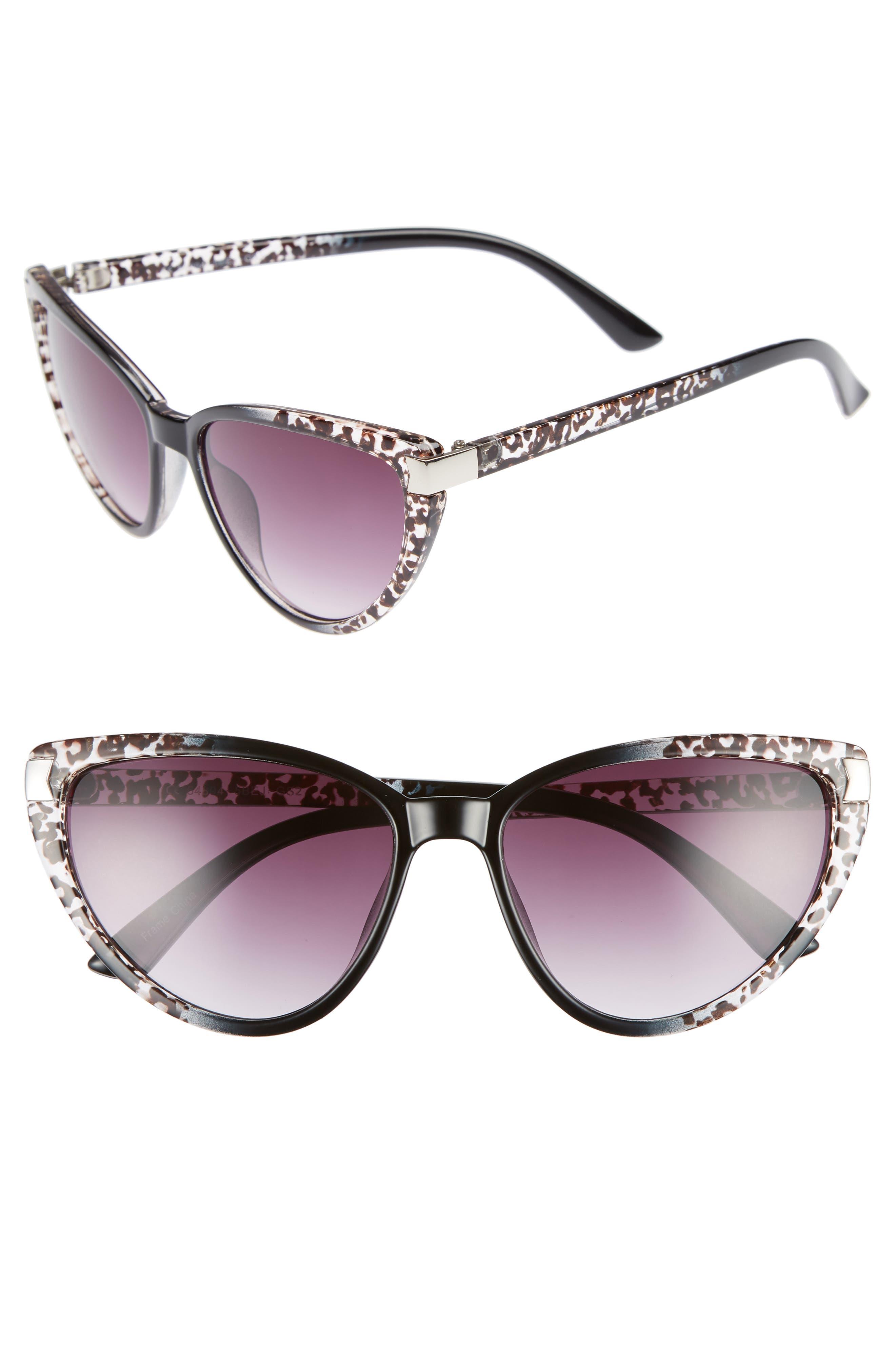 57mm Spotted Cat Eye Sunglasses,                             Main thumbnail 1, color,                             Black/ White