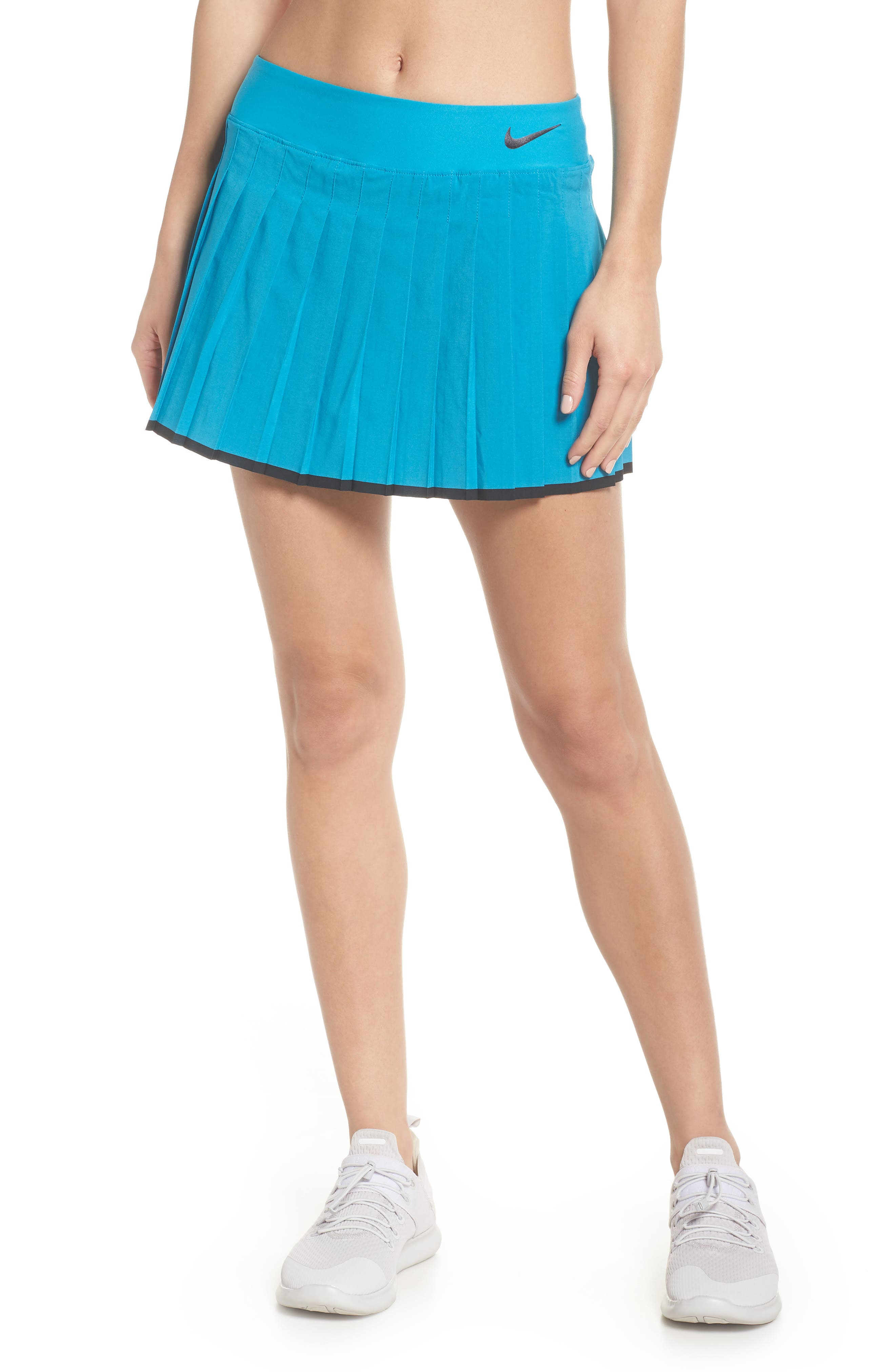 'Victory' Pleat Dri-FIT Tennis Skirt,                         Main,                         color, Neo Turquoise/ Black
