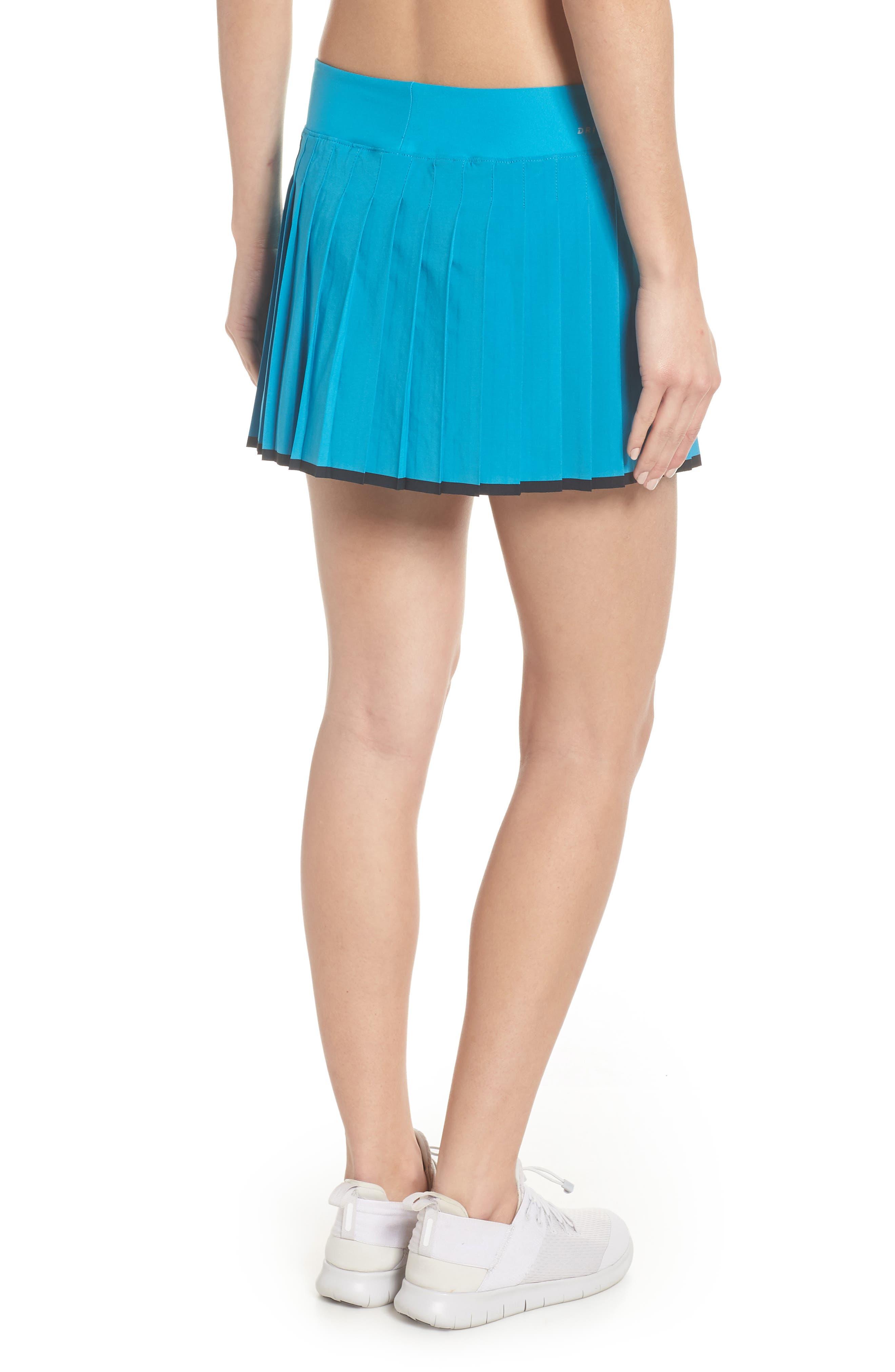 'Victory' Pleat Dri-FIT Tennis Skirt,                             Alternate thumbnail 2, color,                             Neo Turquoise/ Black