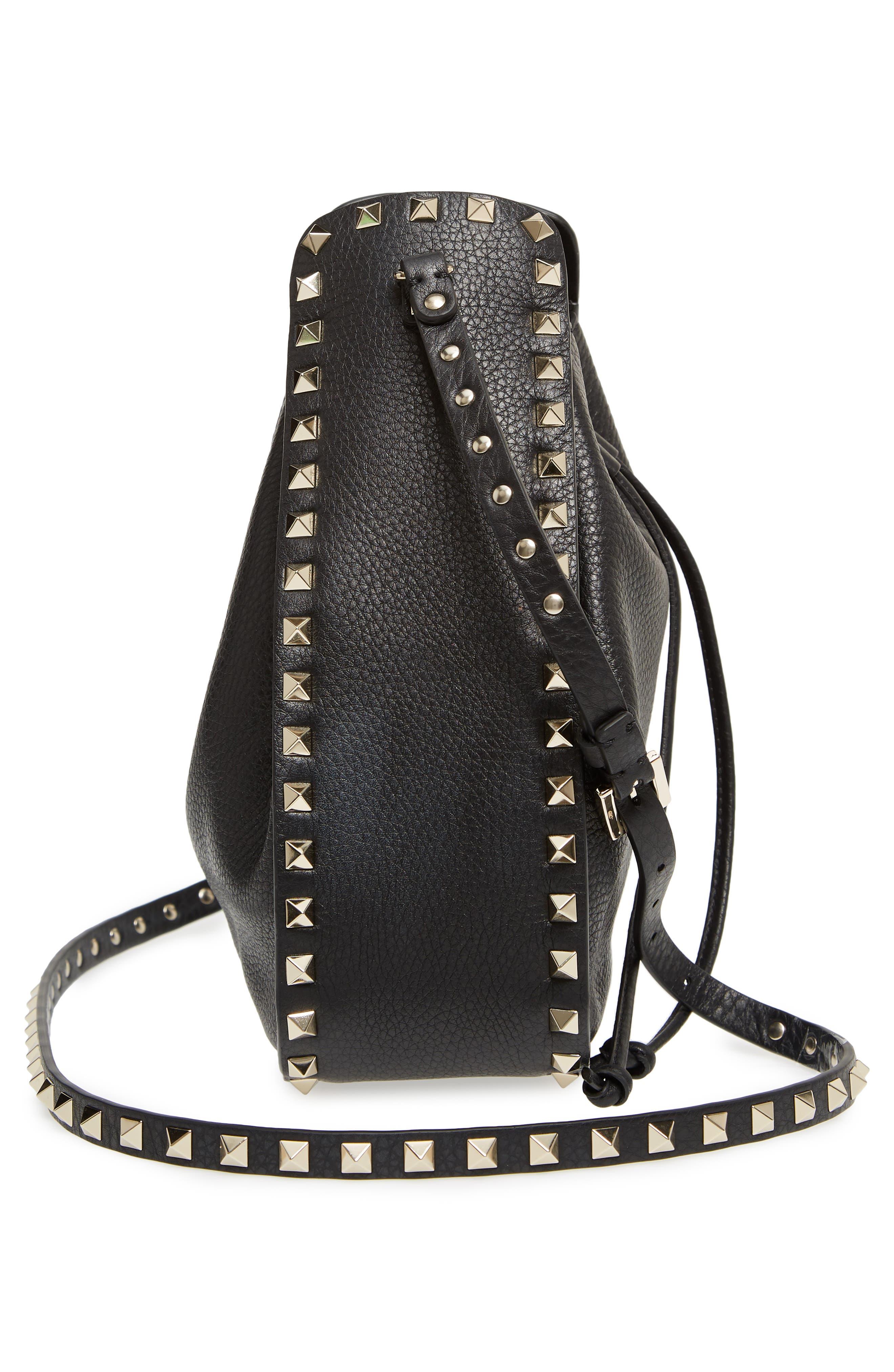 Large Rockstud Leather Bucket Bag,                             Alternate thumbnail 5, color,                             Black/ Gold