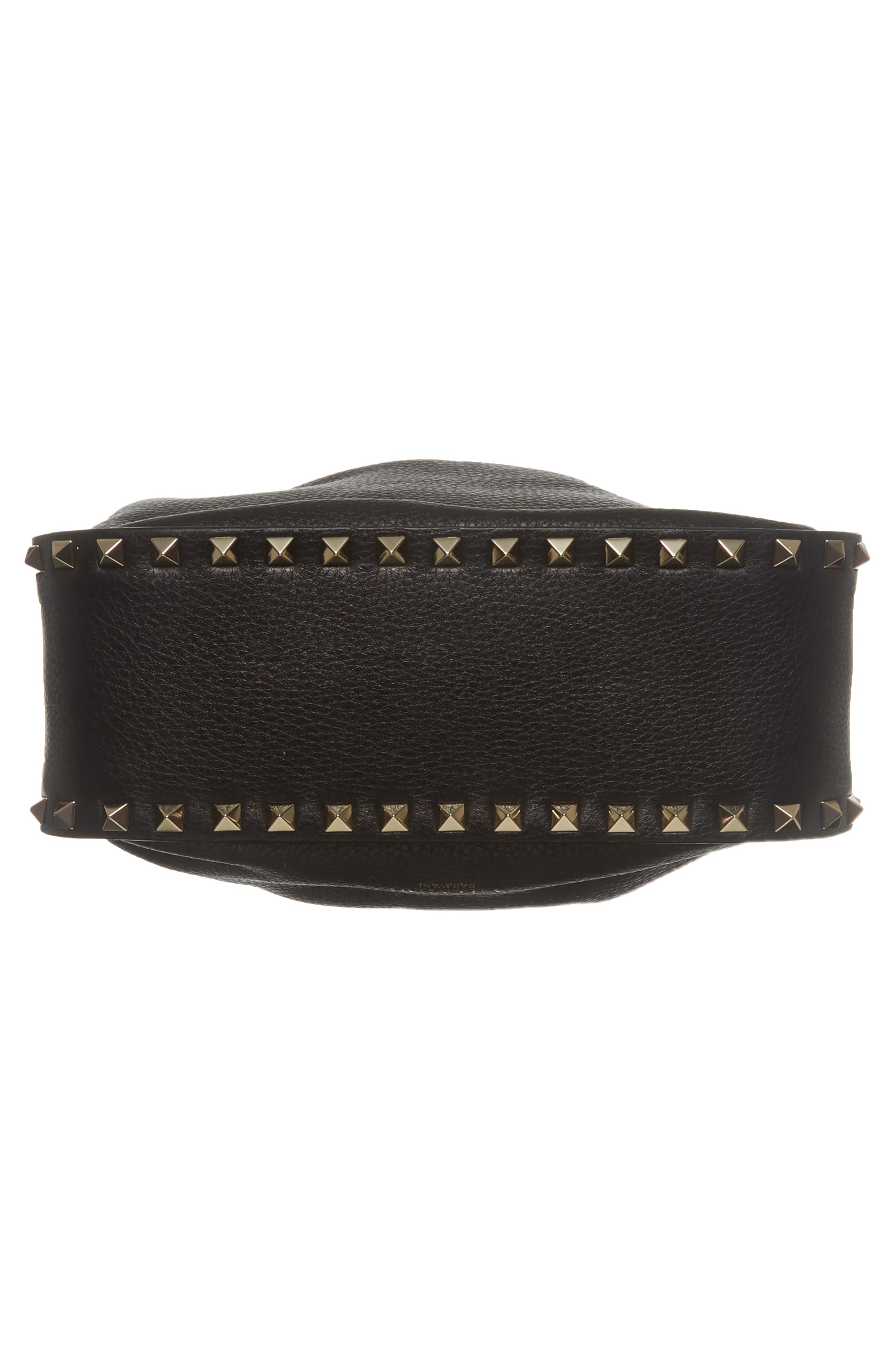 Large Rockstud Leather Bucket Bag,                             Alternate thumbnail 6, color,                             Black/ Gold