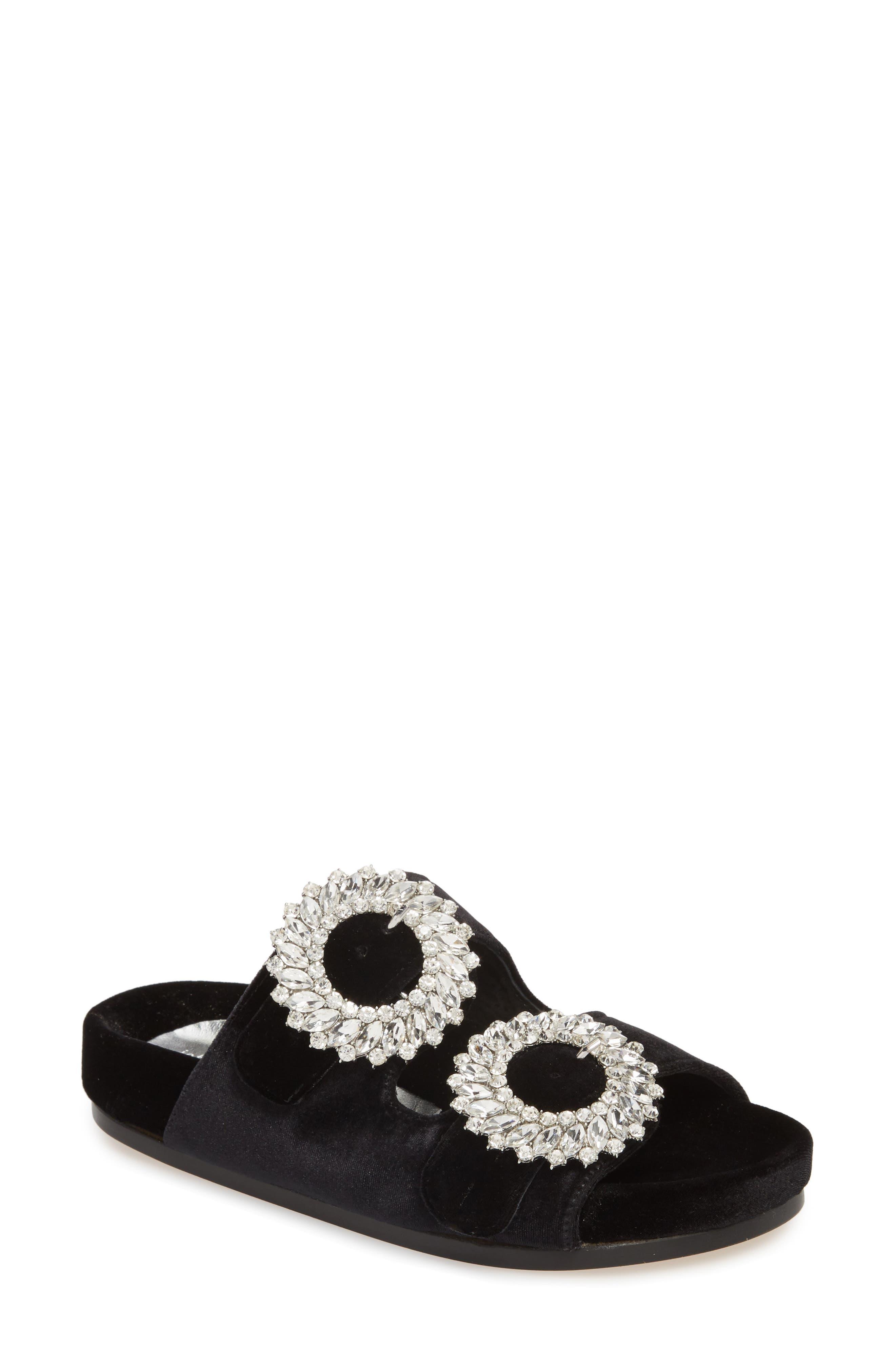 Izaro Embellished Slide Sandal,                         Main,                         color, Black Velvet/ Silver