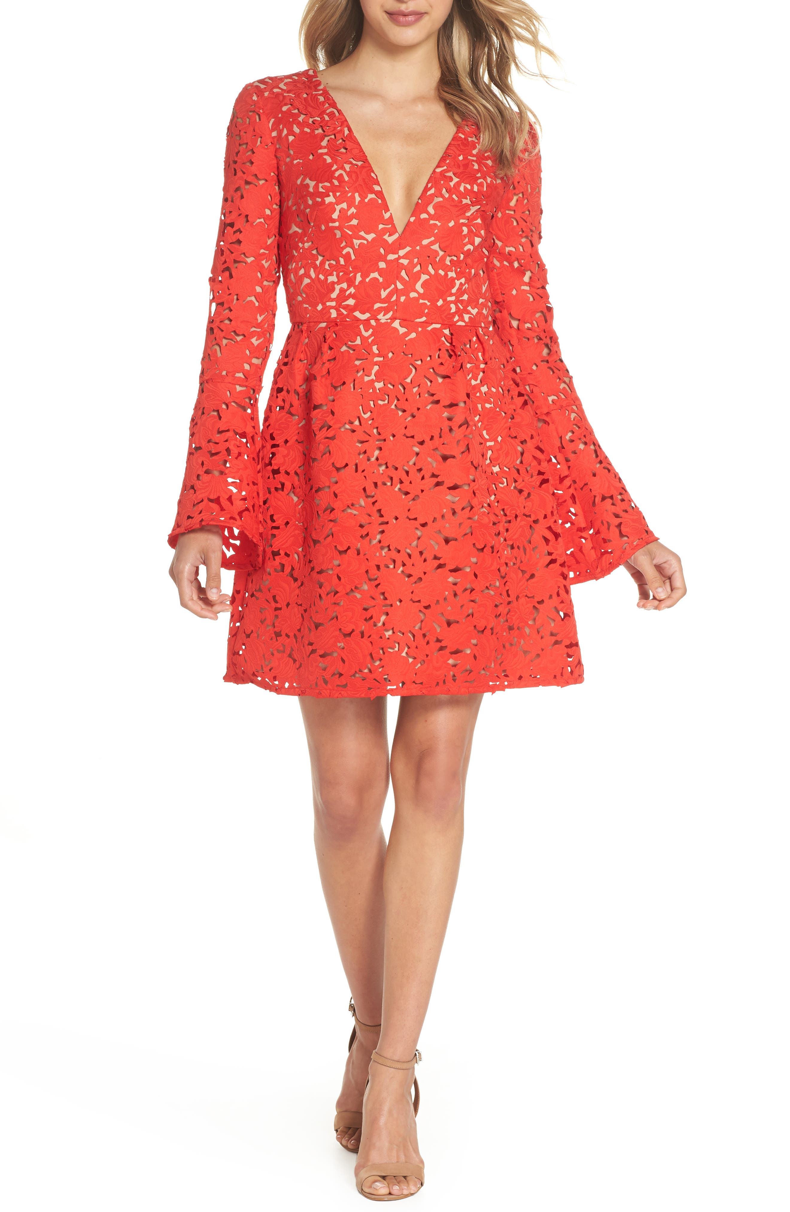 Lazercut Bell Sleeve Fit & Flare Dress,                         Main,                         color, Sangria