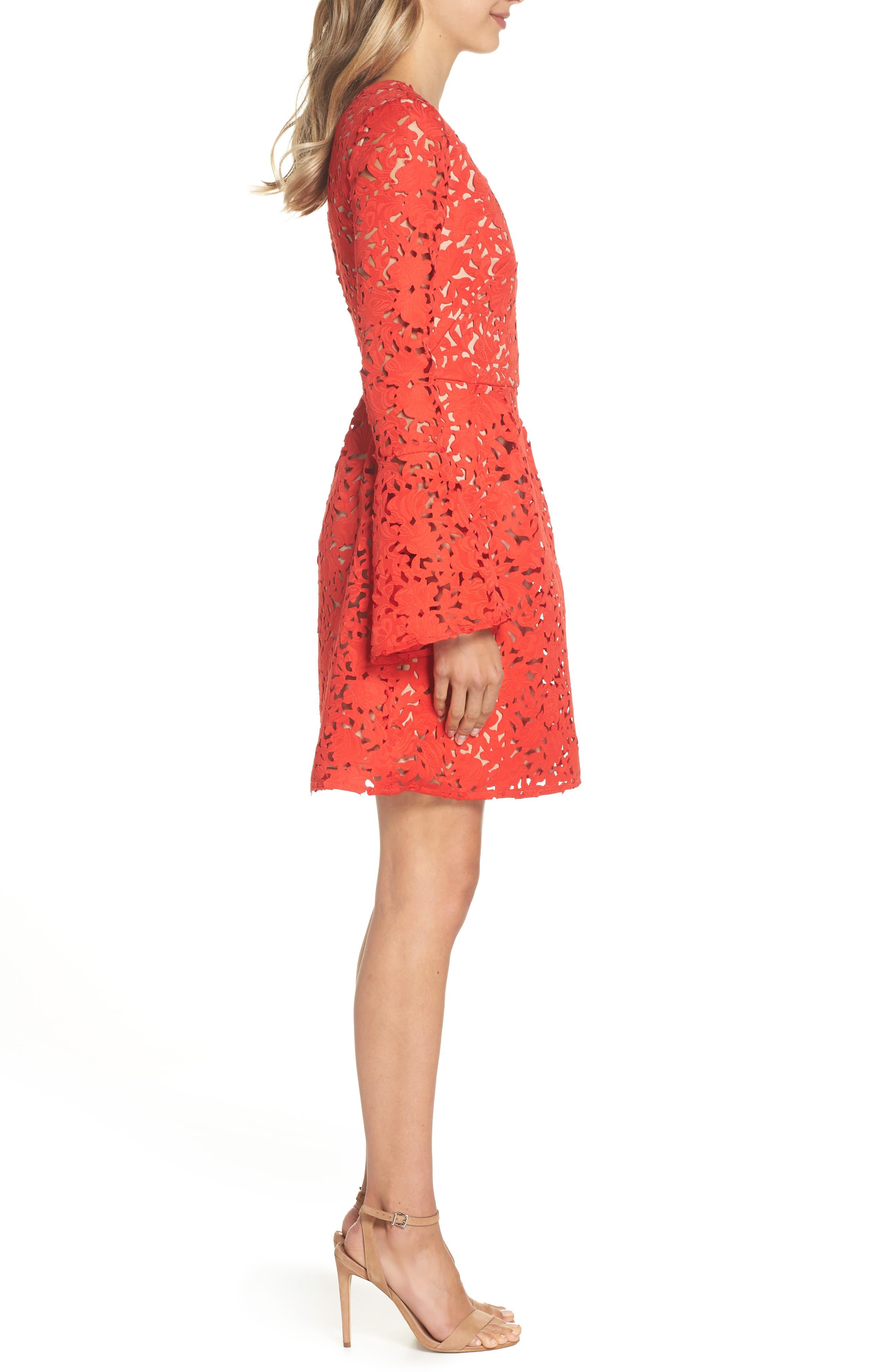 Lazercut Bell Sleeve Fit & Flare Dress,                             Alternate thumbnail 3, color,                             Sangria