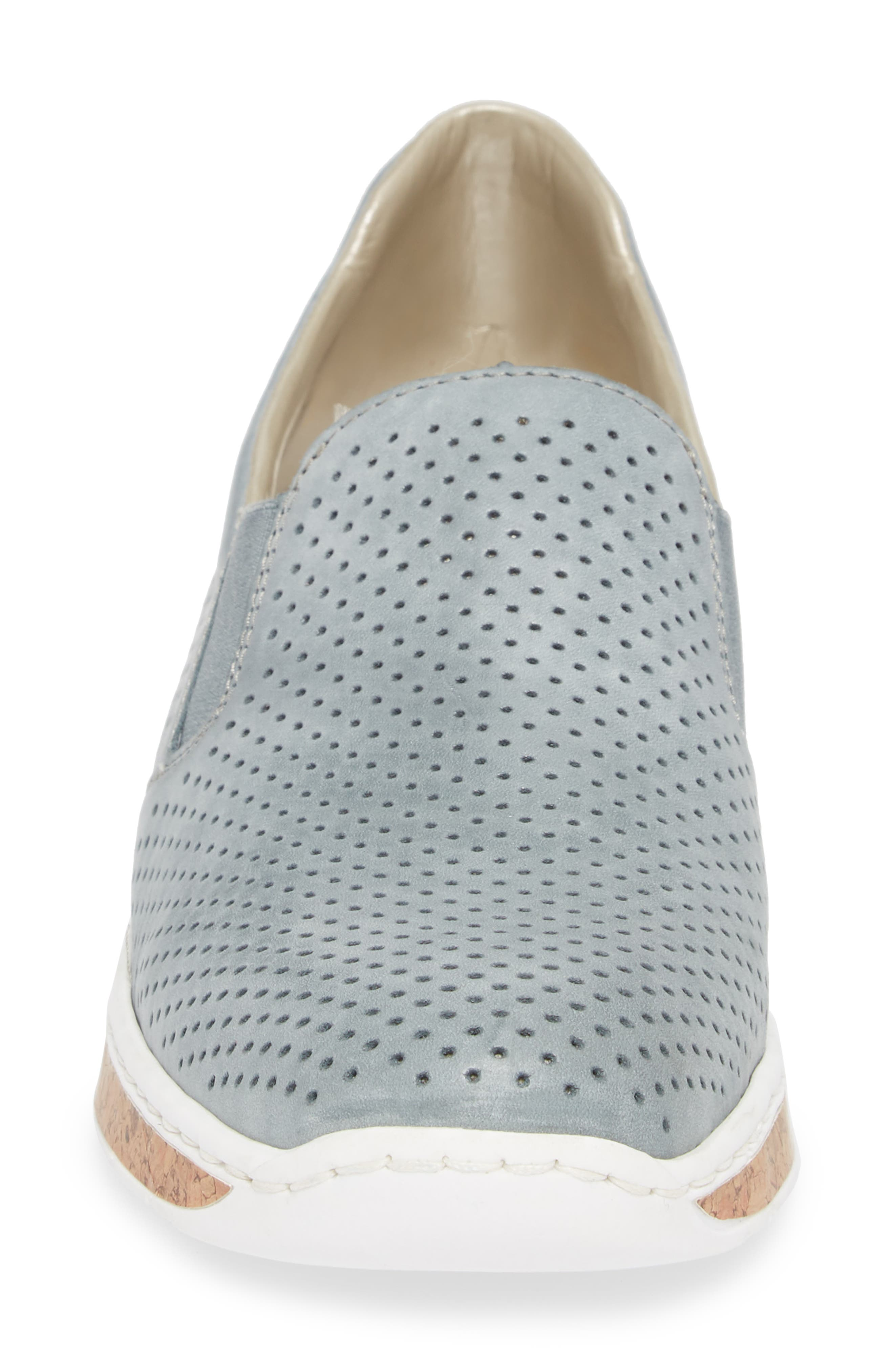 Doris 75 Wedge Sneaker,                             Alternate thumbnail 4, color,                             Royal Faux Leather