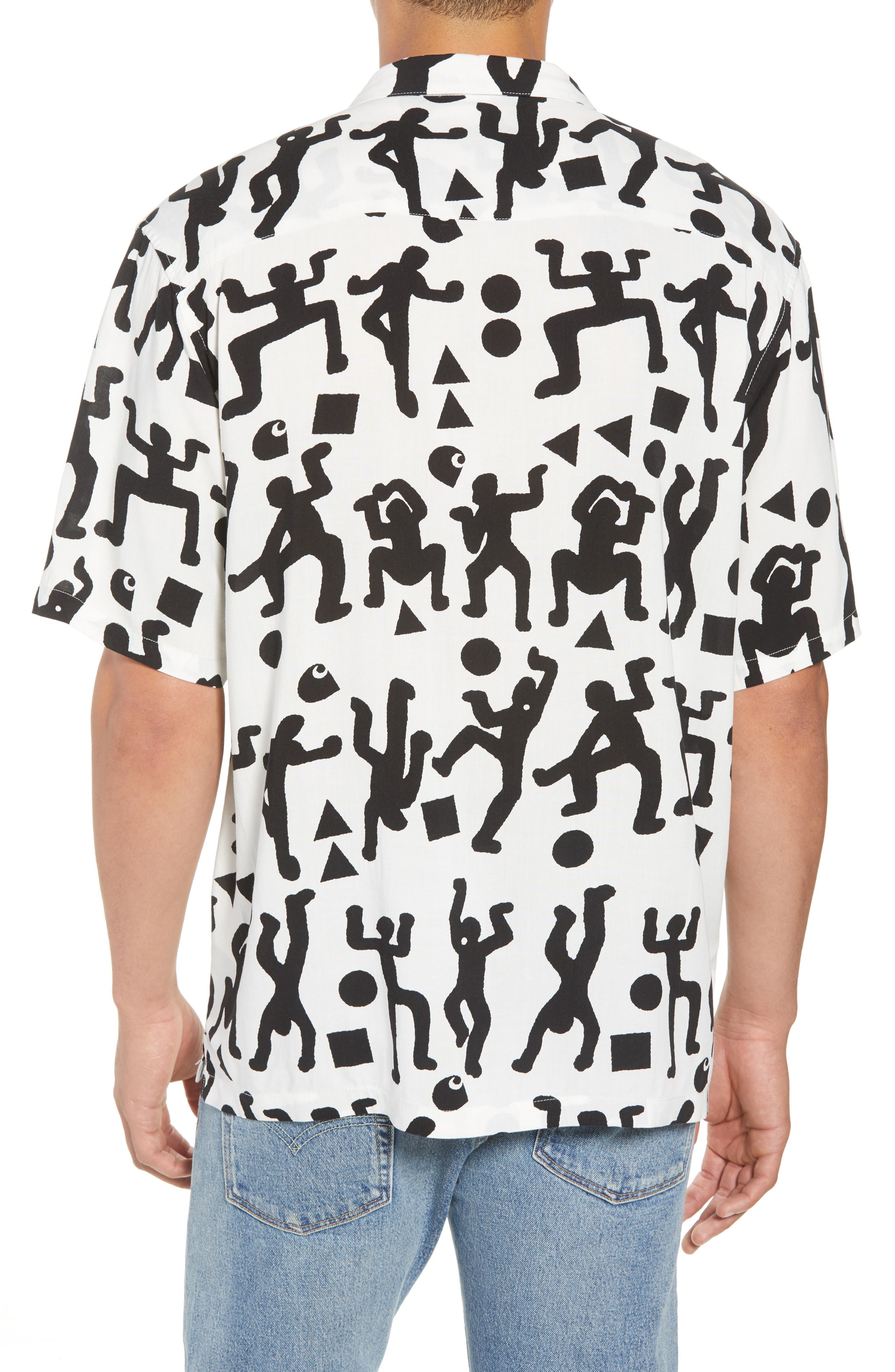 World Party Woven Shirt,                             Alternate thumbnail 3, color,                             World Party Print Black/ White