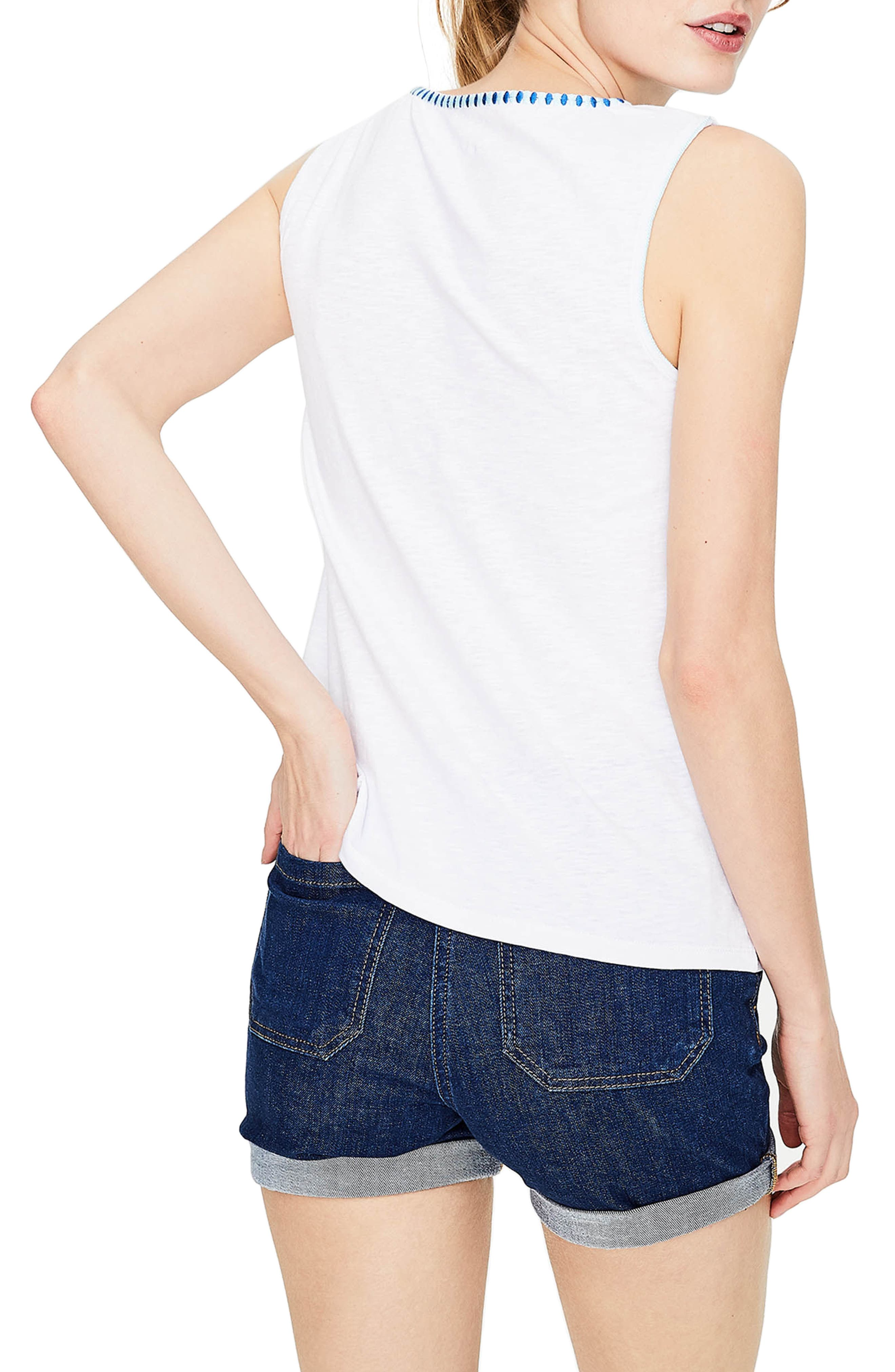 Embroidered Tank,                             Alternate thumbnail 3, color,                             White