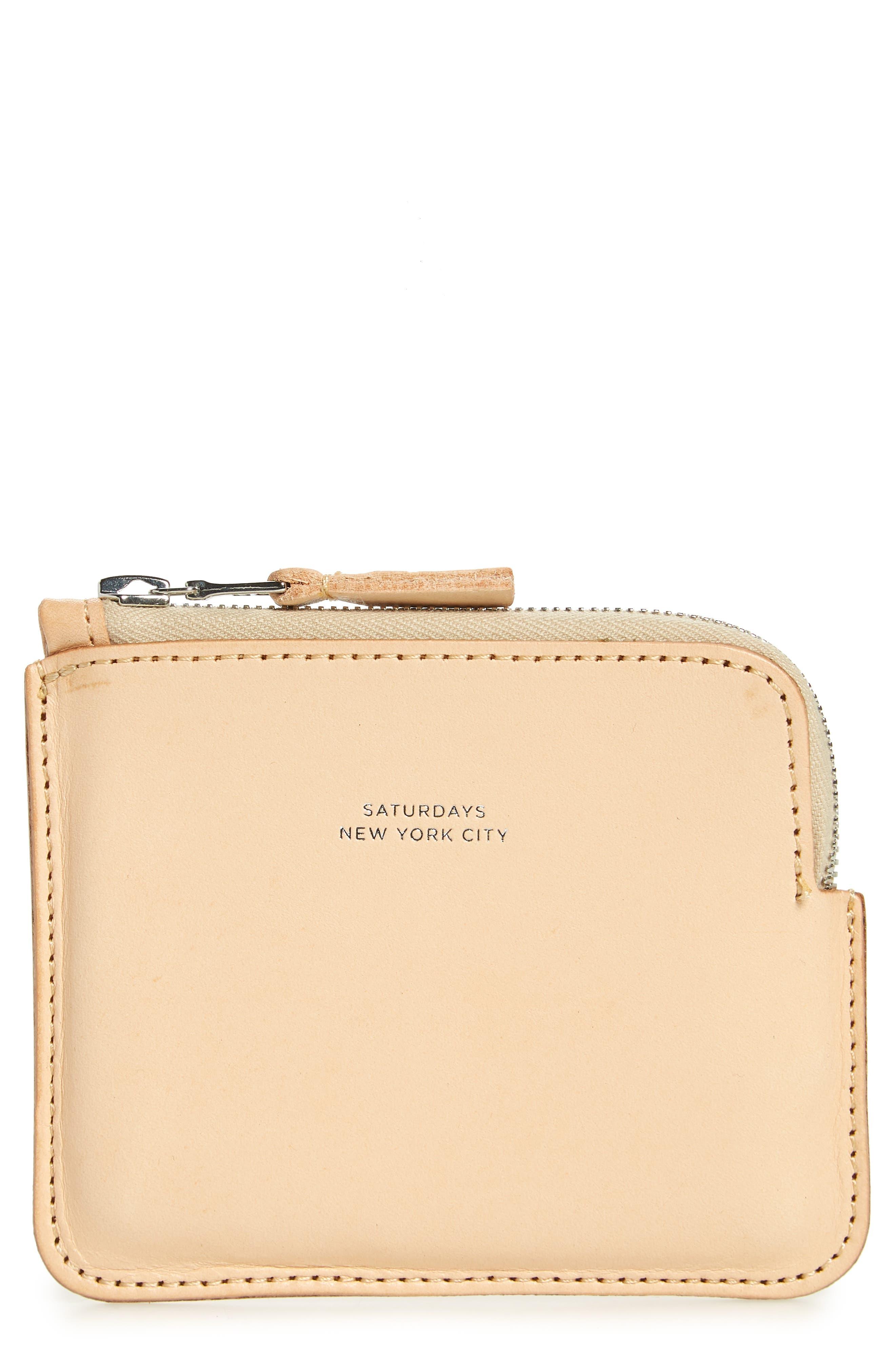 Leather Half Zip Wallet,                             Main thumbnail 1, color,                             Vegetable Tan