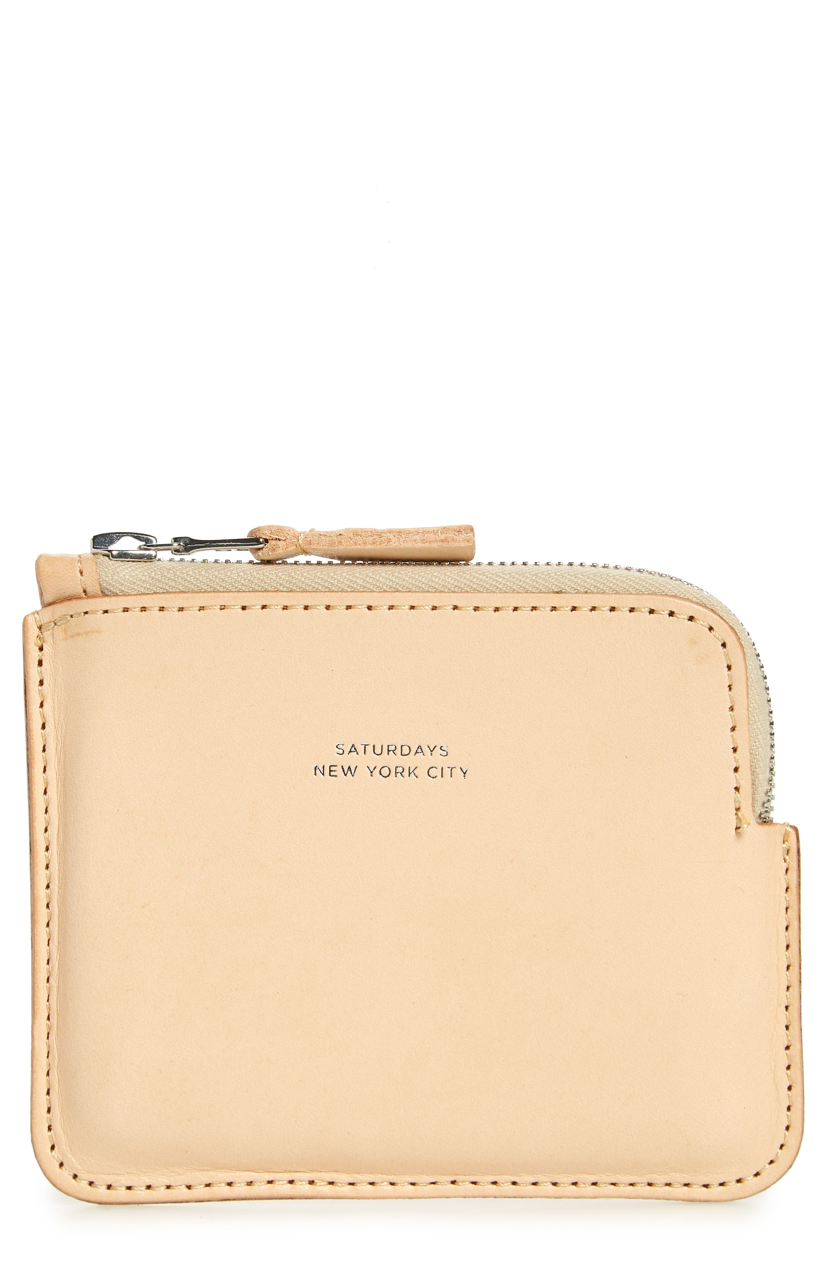 Leather Half Zip Wallet,                         Main,                         color, Vegetable Tan