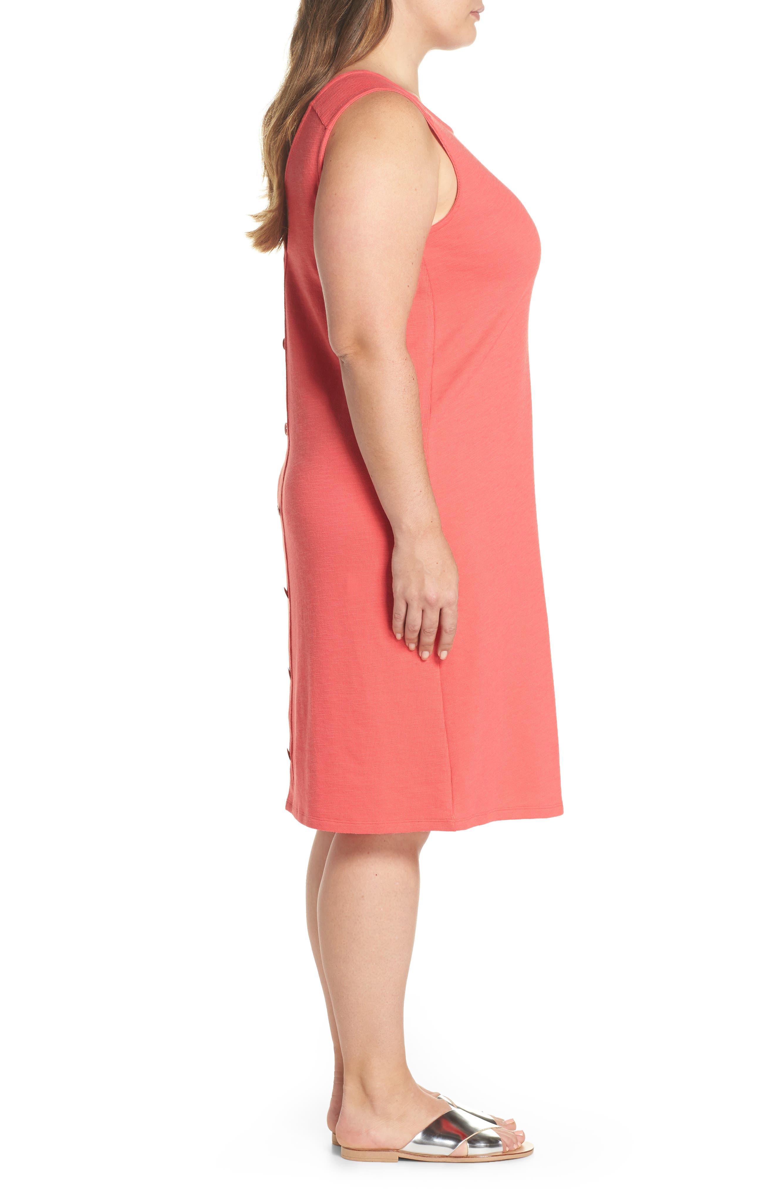 Button Back Knit Dress,                             Alternate thumbnail 3, color,                             Coral Rose