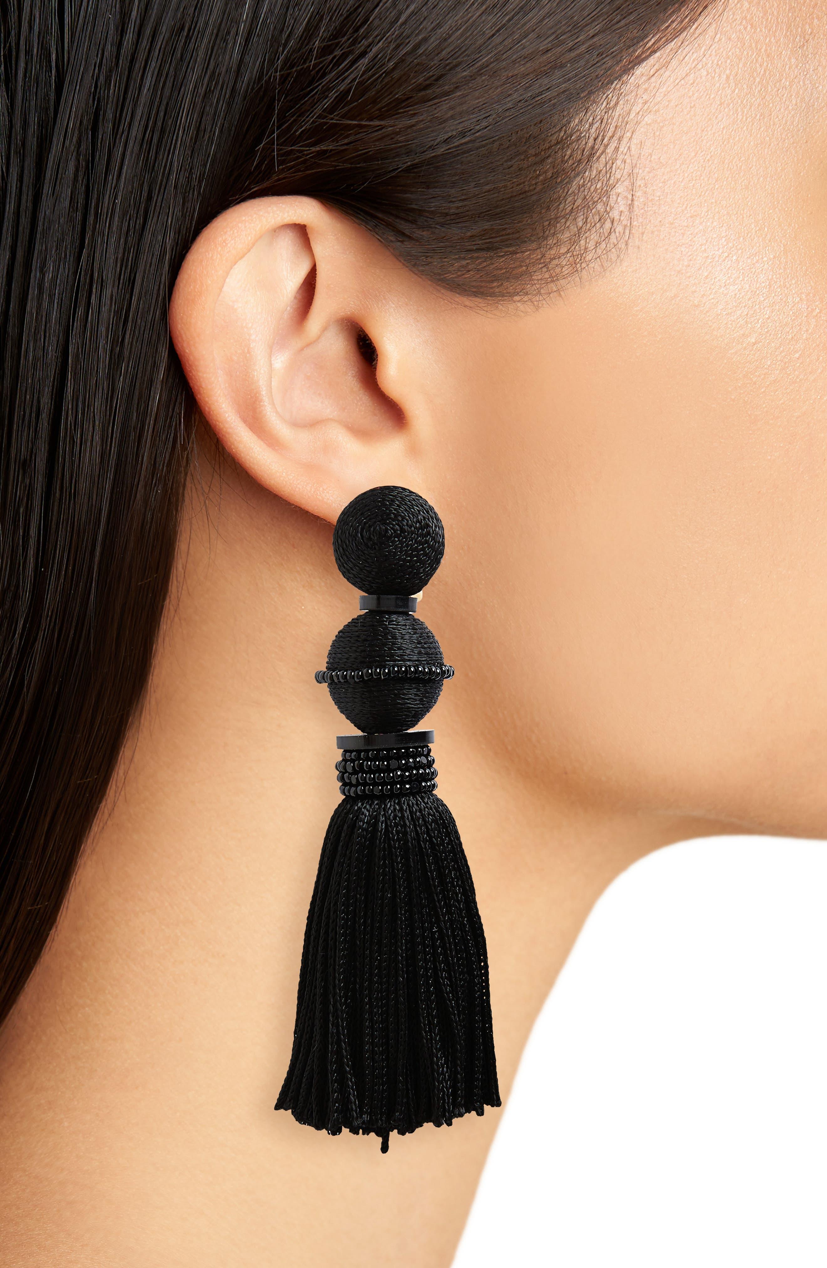 Clip Tassel Drop Earrings,                             Alternate thumbnail 2, color,                             Noir